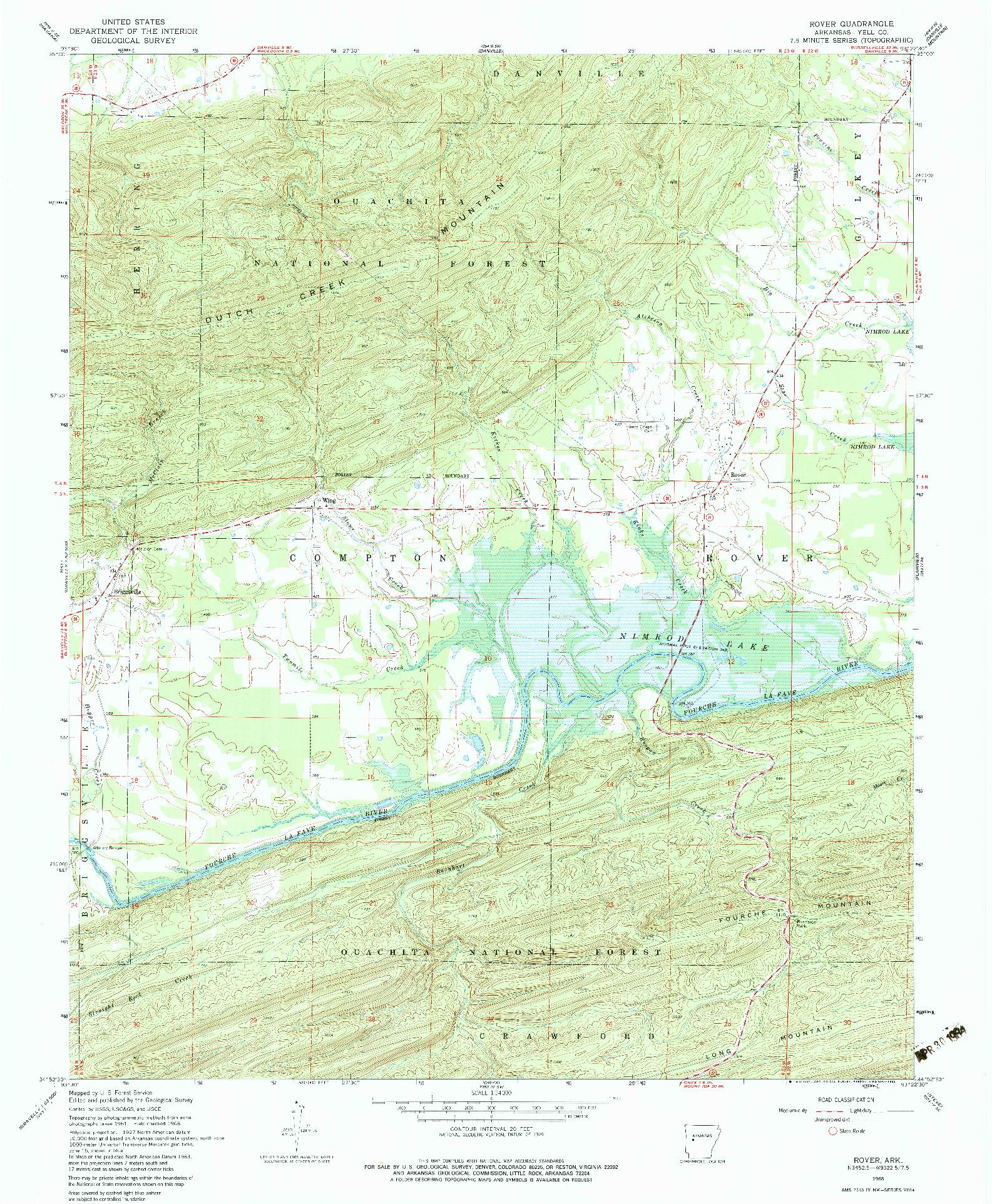 USGS 1:24000-SCALE QUADRANGLE FOR ROVER, AR 1968