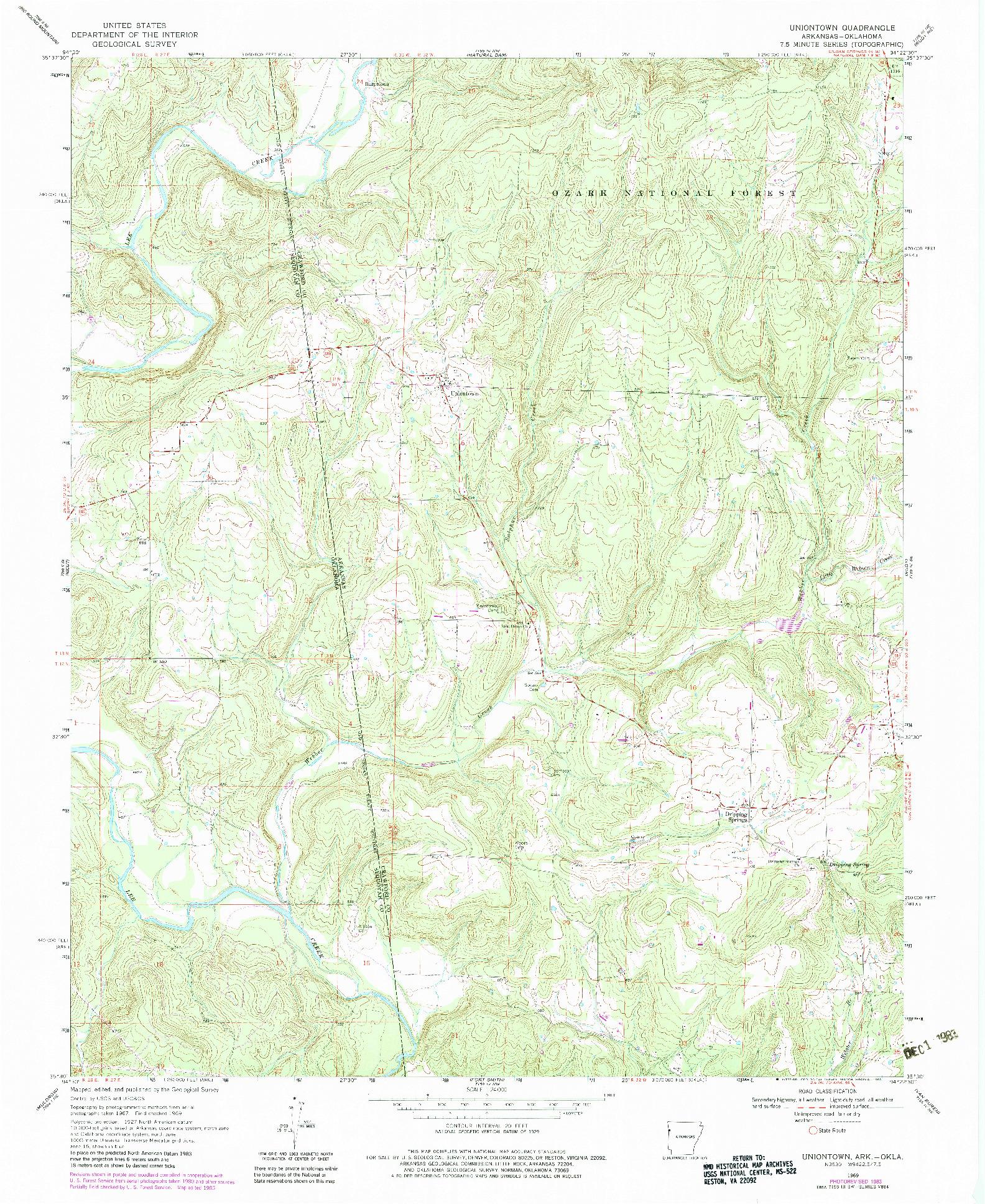 USGS 1:24000-SCALE QUADRANGLE FOR UNIONTOWN, AR 1969