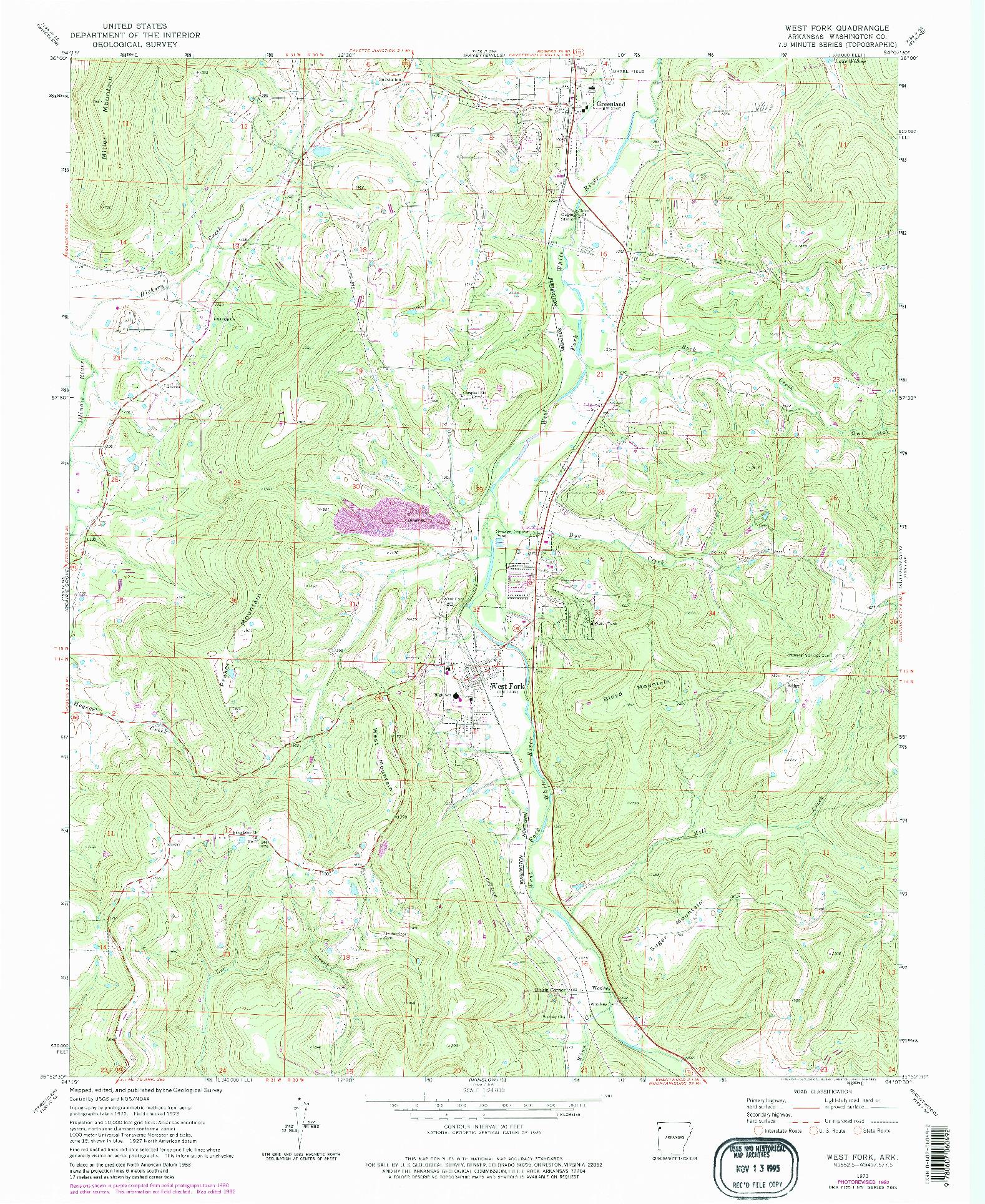 USGS 1:24000-SCALE QUADRANGLE FOR WEST FORK, AR 1973