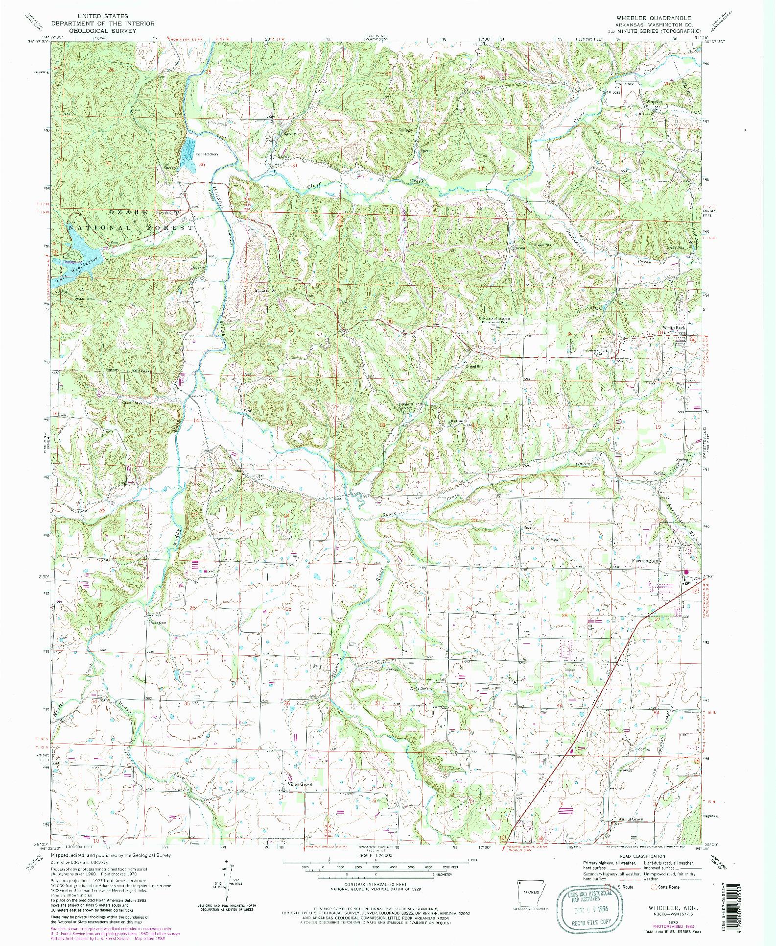 USGS 1:24000-SCALE QUADRANGLE FOR WHEELER, AR 1970