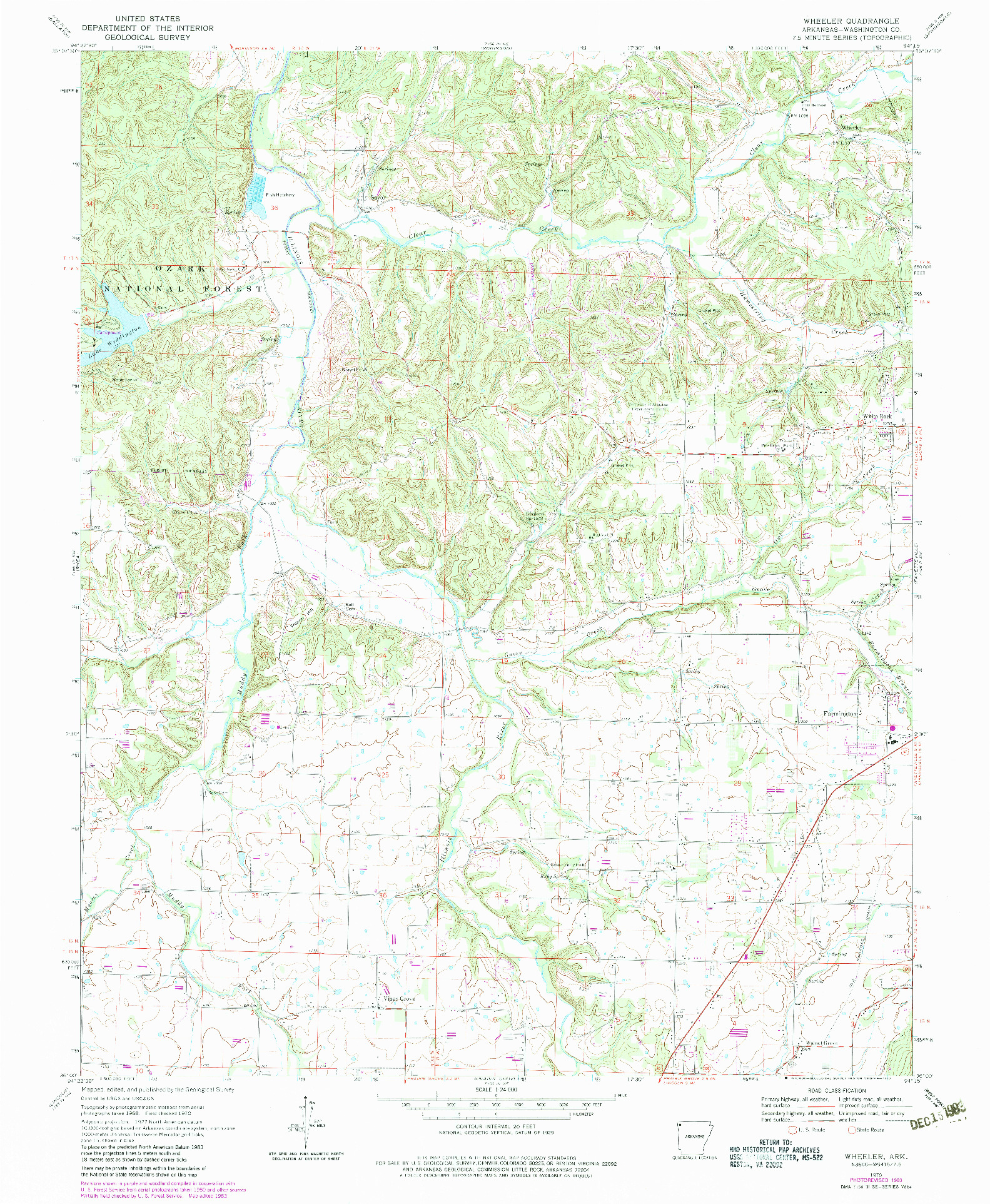 USGS 1:24000-SCALE QUADRANGLE FOR WHEELER, AR 1970