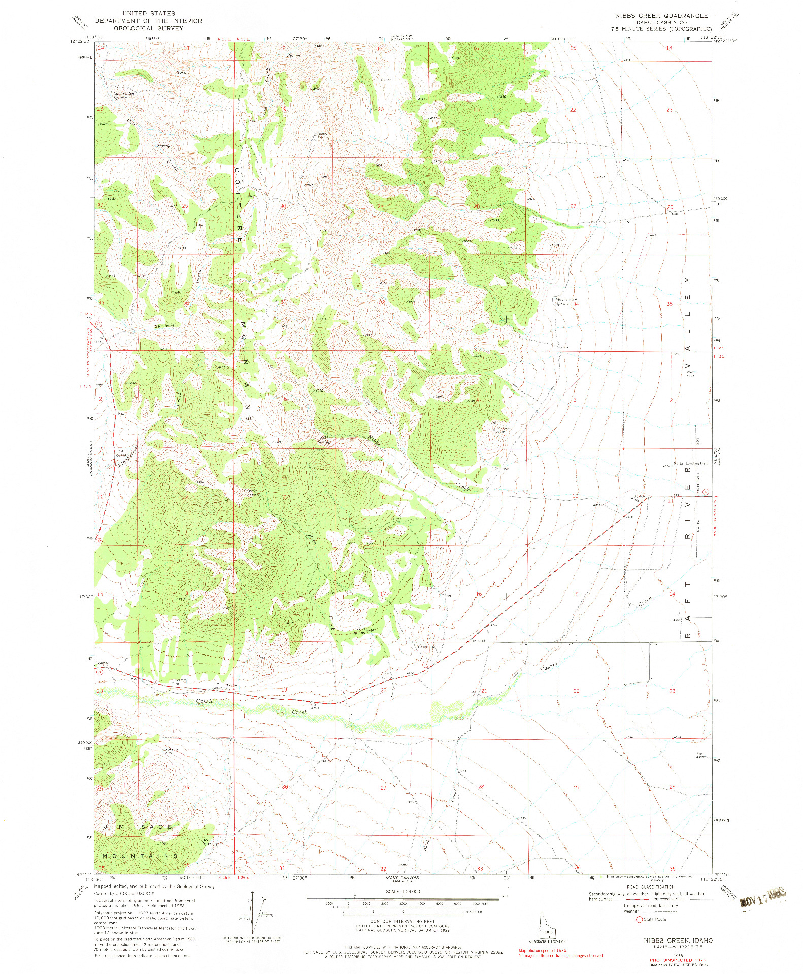 USGS 1:24000-SCALE QUADRANGLE FOR NIBBS CREEK, ID 1968