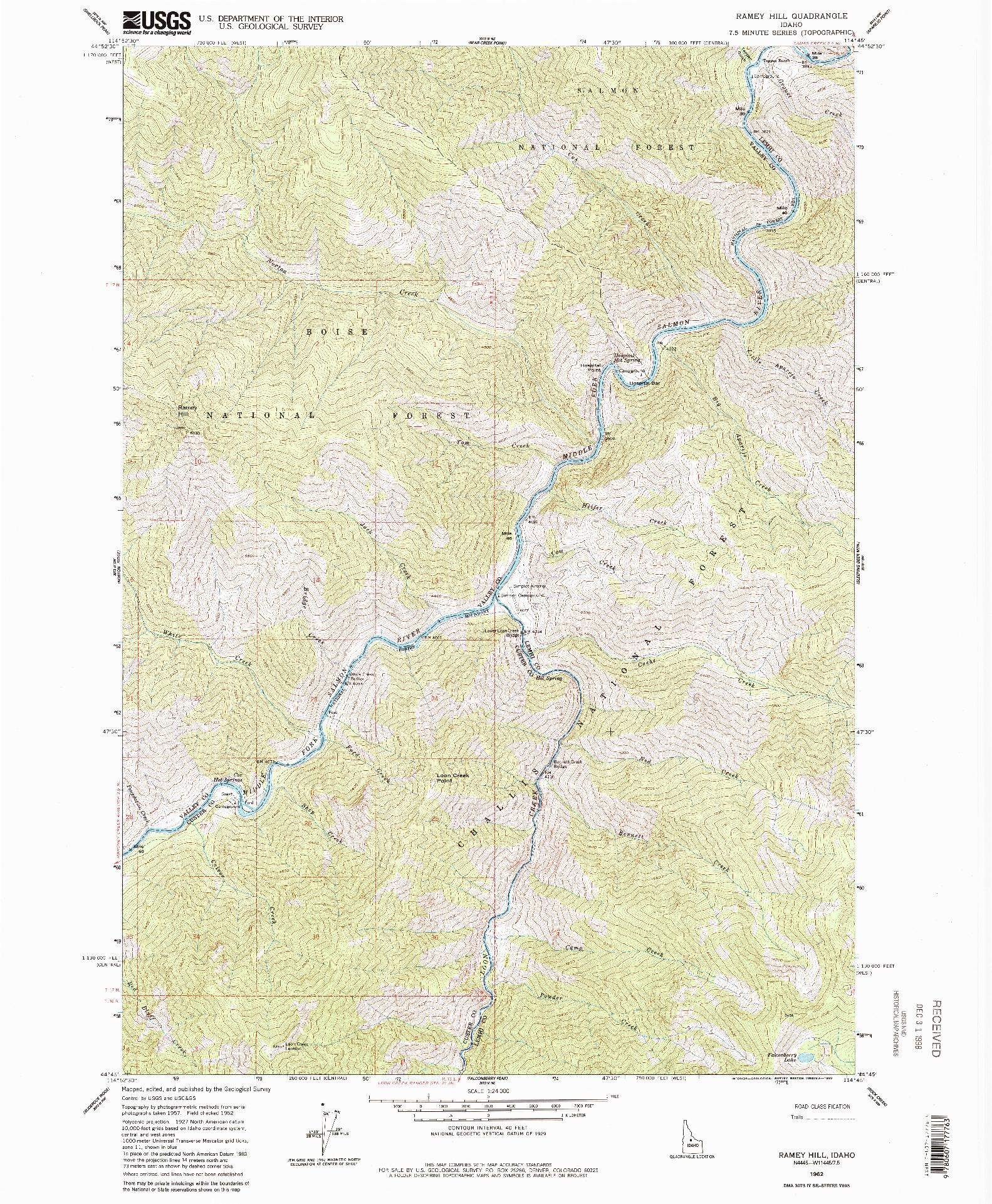 USGS 1:24000-SCALE QUADRANGLE FOR RAMEY HILL, ID 1962
