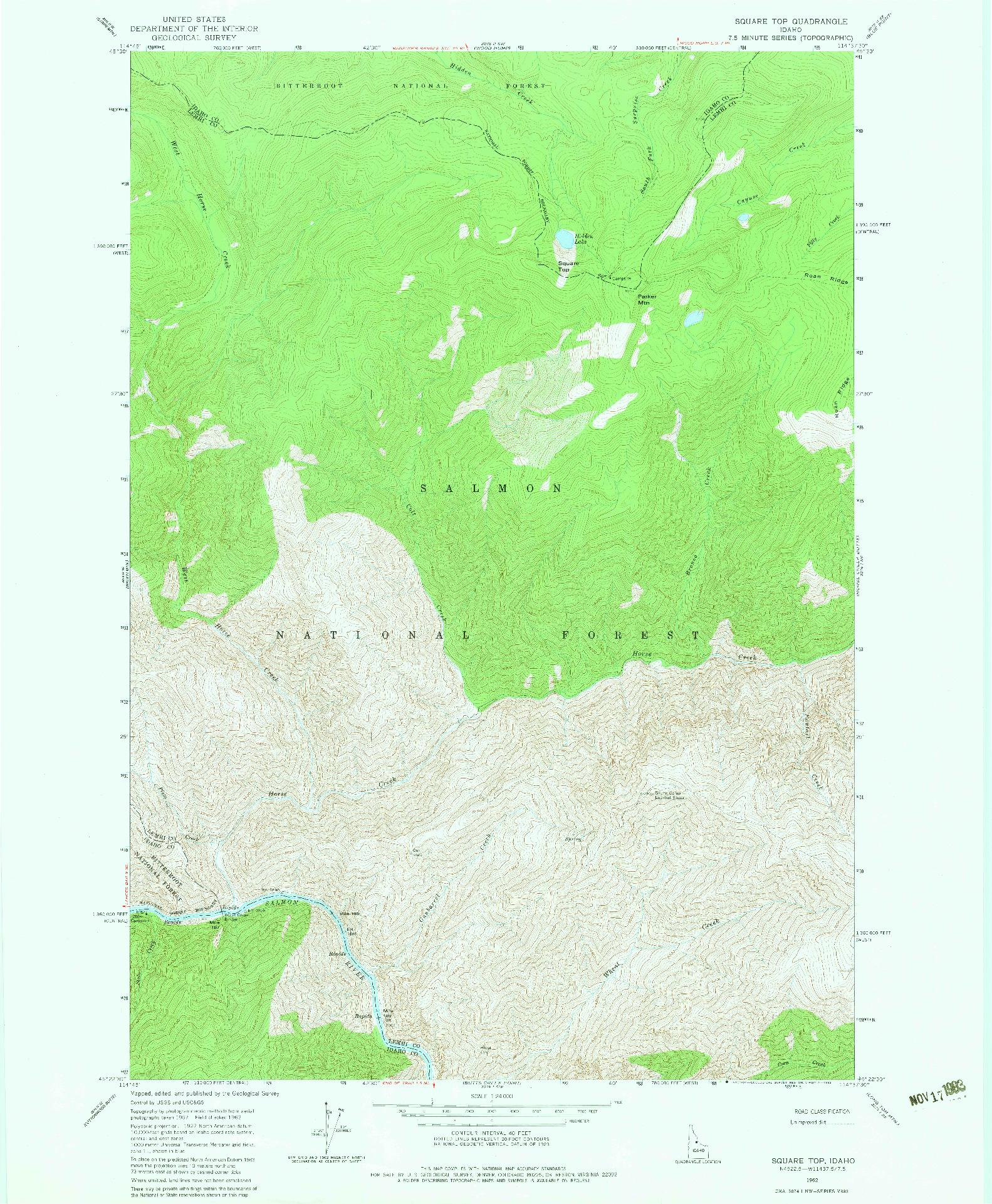 USGS 1:24000-SCALE QUADRANGLE FOR SQUARE TOP, ID 1962