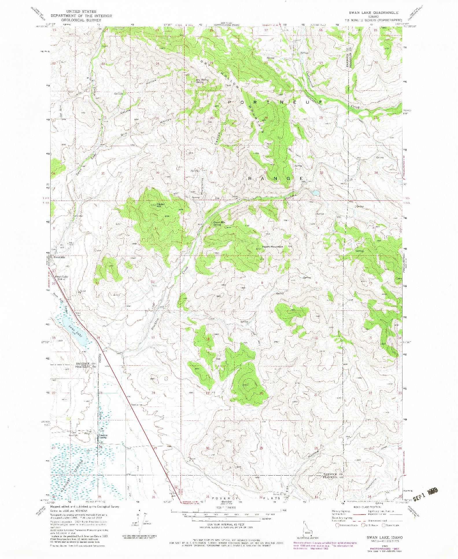 USGS 1:24000-SCALE QUADRANGLE FOR SWAN LAKE, ID 1969