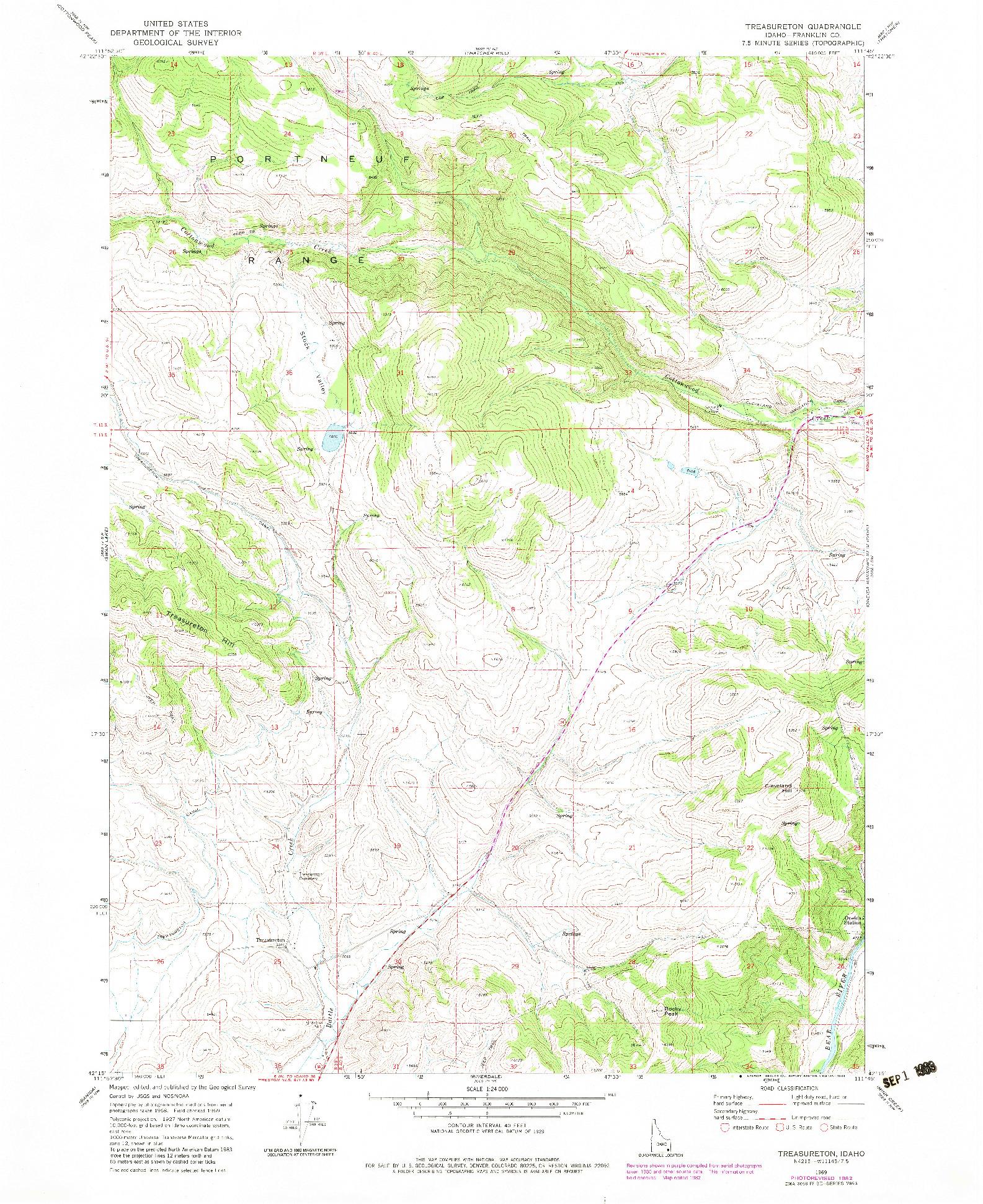 USGS 1:24000-SCALE QUADRANGLE FOR TREASURETON, ID 1969