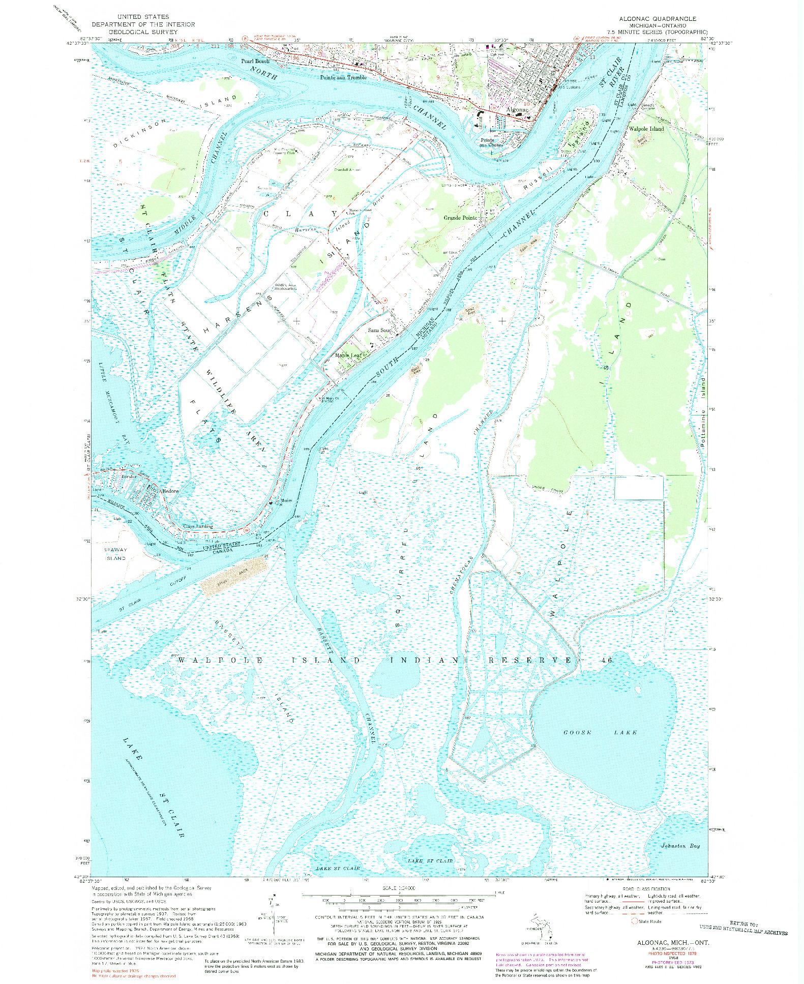 USGS 1:24000-SCALE QUADRANGLE FOR ALGONAC, MI 1968