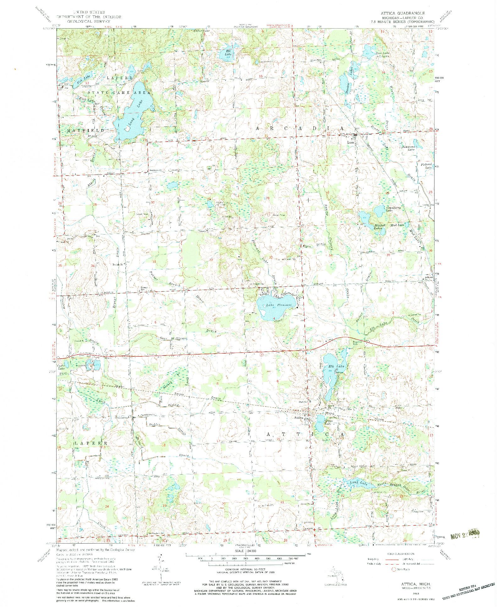 USGS 1:24000-SCALE QUADRANGLE FOR ATTICA, MI 1963
