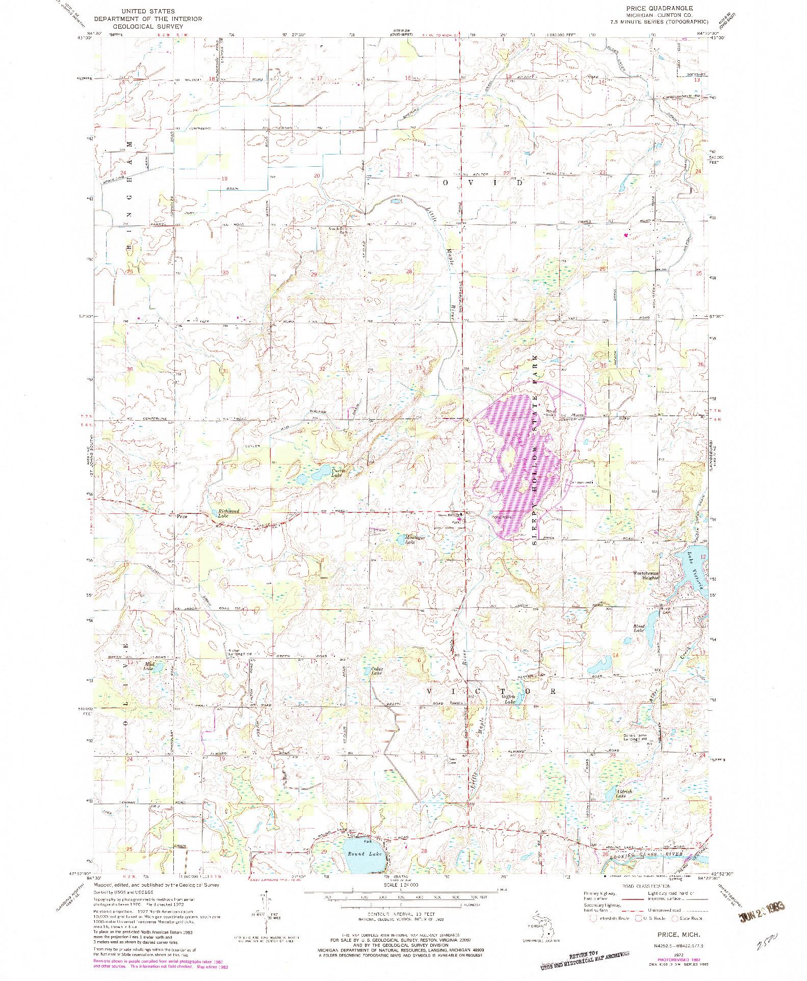 USGS 1:24000-SCALE QUADRANGLE FOR PRICE, MI 1972