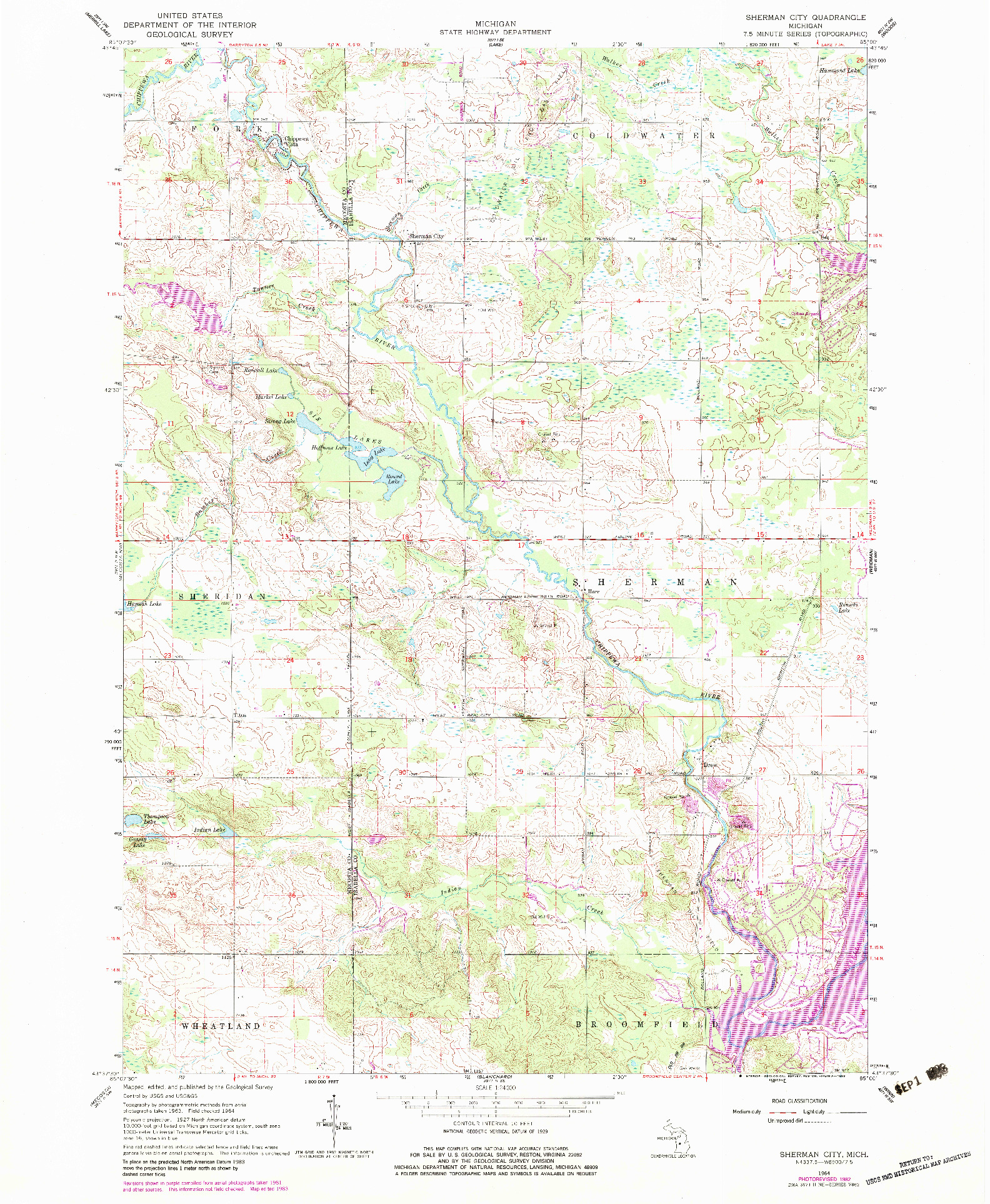 USGS 1:24000-SCALE QUADRANGLE FOR SHERMAN CITY, MI 1964