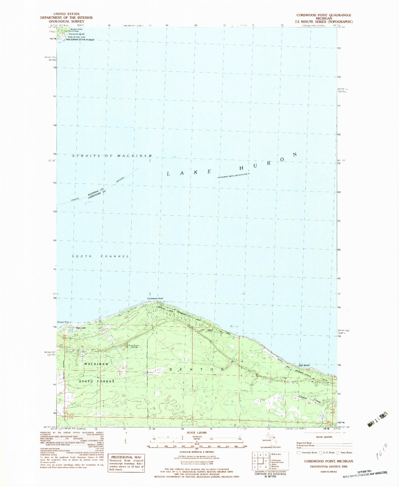 USGS 1:25000-SCALE QUADRANGLE FOR CORDWOOD POINT, MI 1982