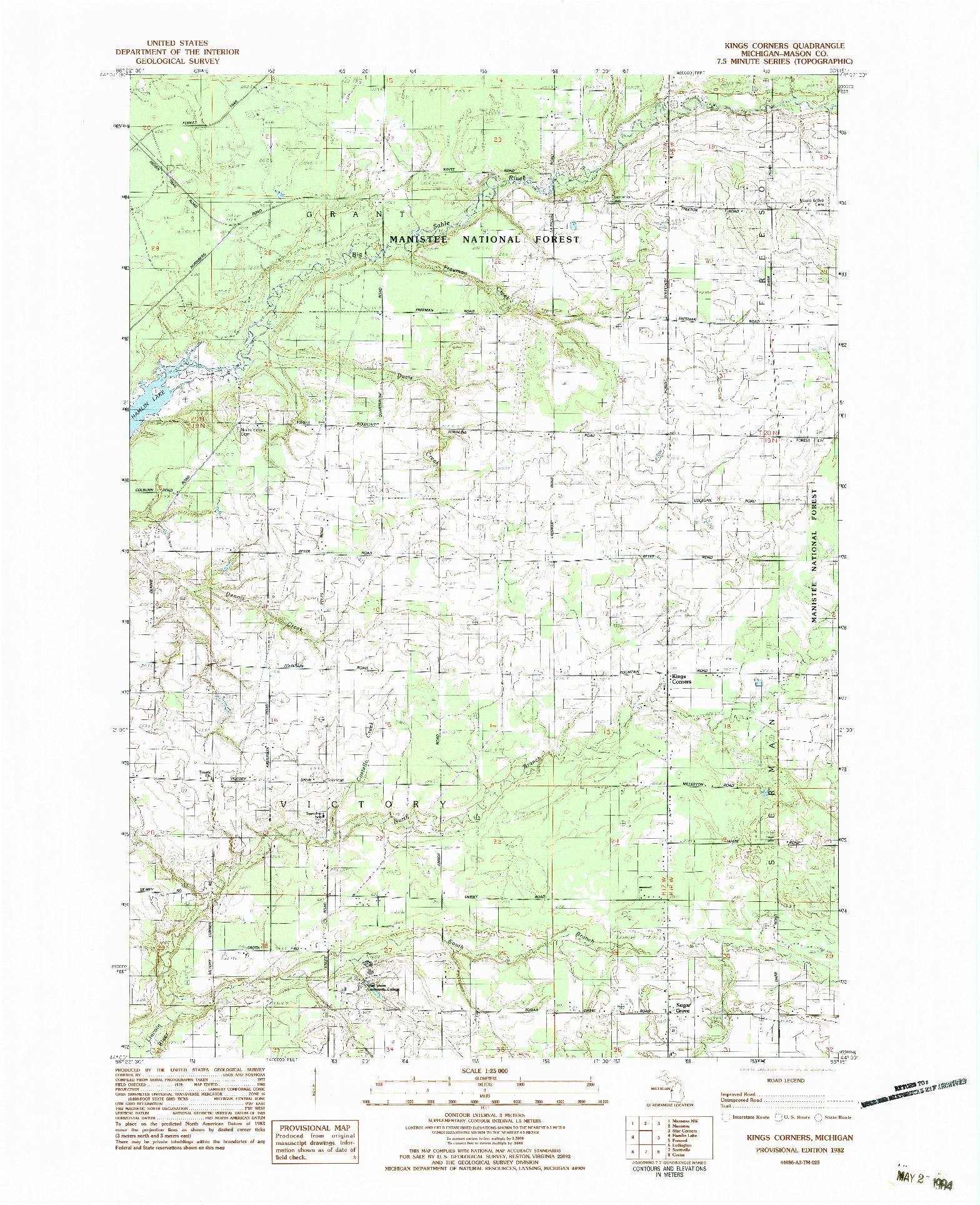 USGS 1:25000-SCALE QUADRANGLE FOR KINGS CORNERS, MI 1982