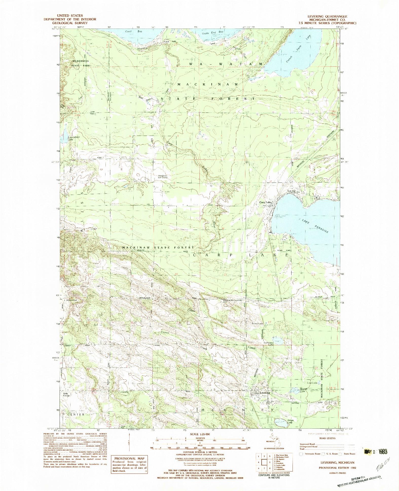 USGS 1:25000-SCALE QUADRANGLE FOR LEVERING, MI 1982