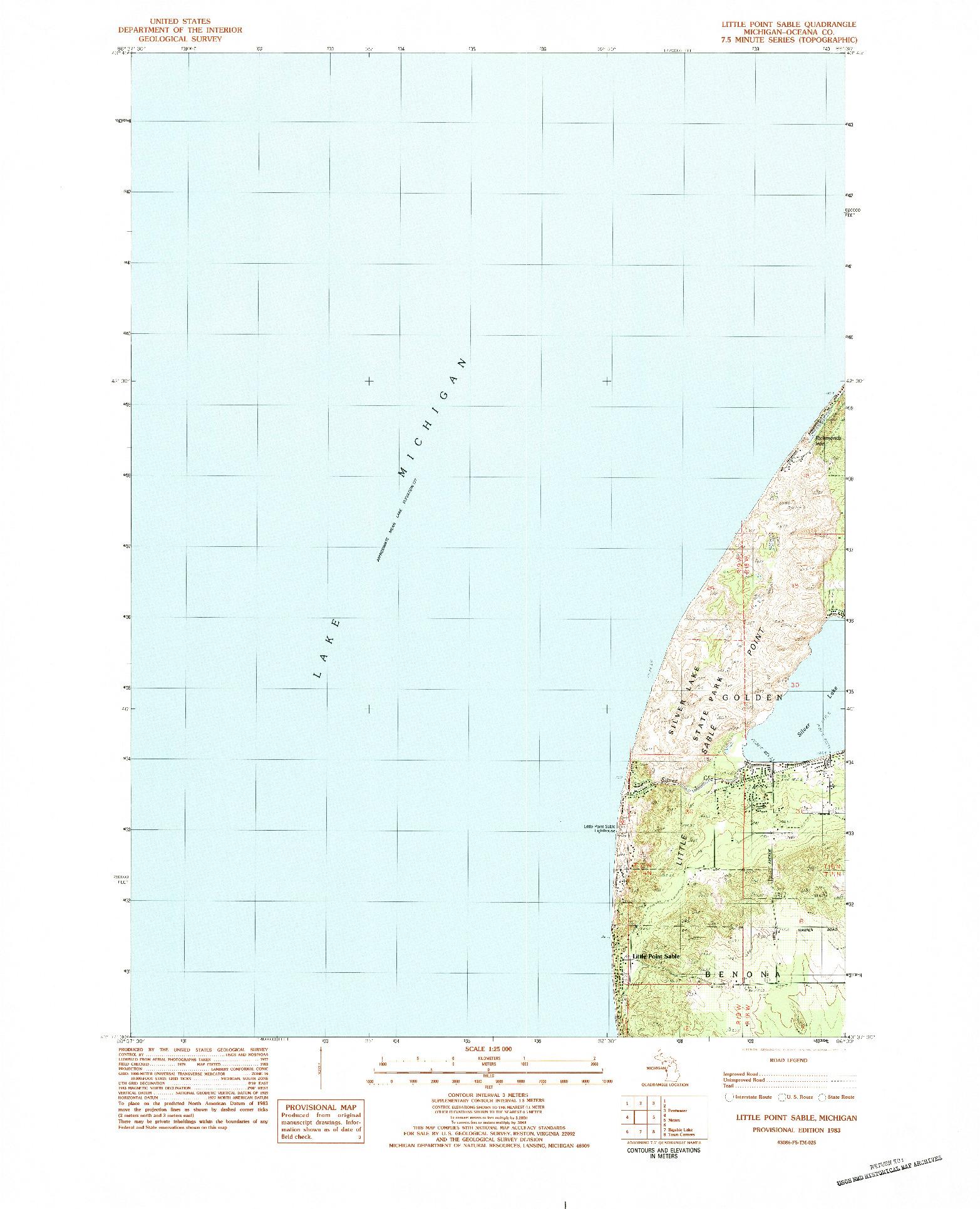 USGS 1:25000-SCALE QUADRANGLE FOR LITTLE POINT SABLE, MI 1983