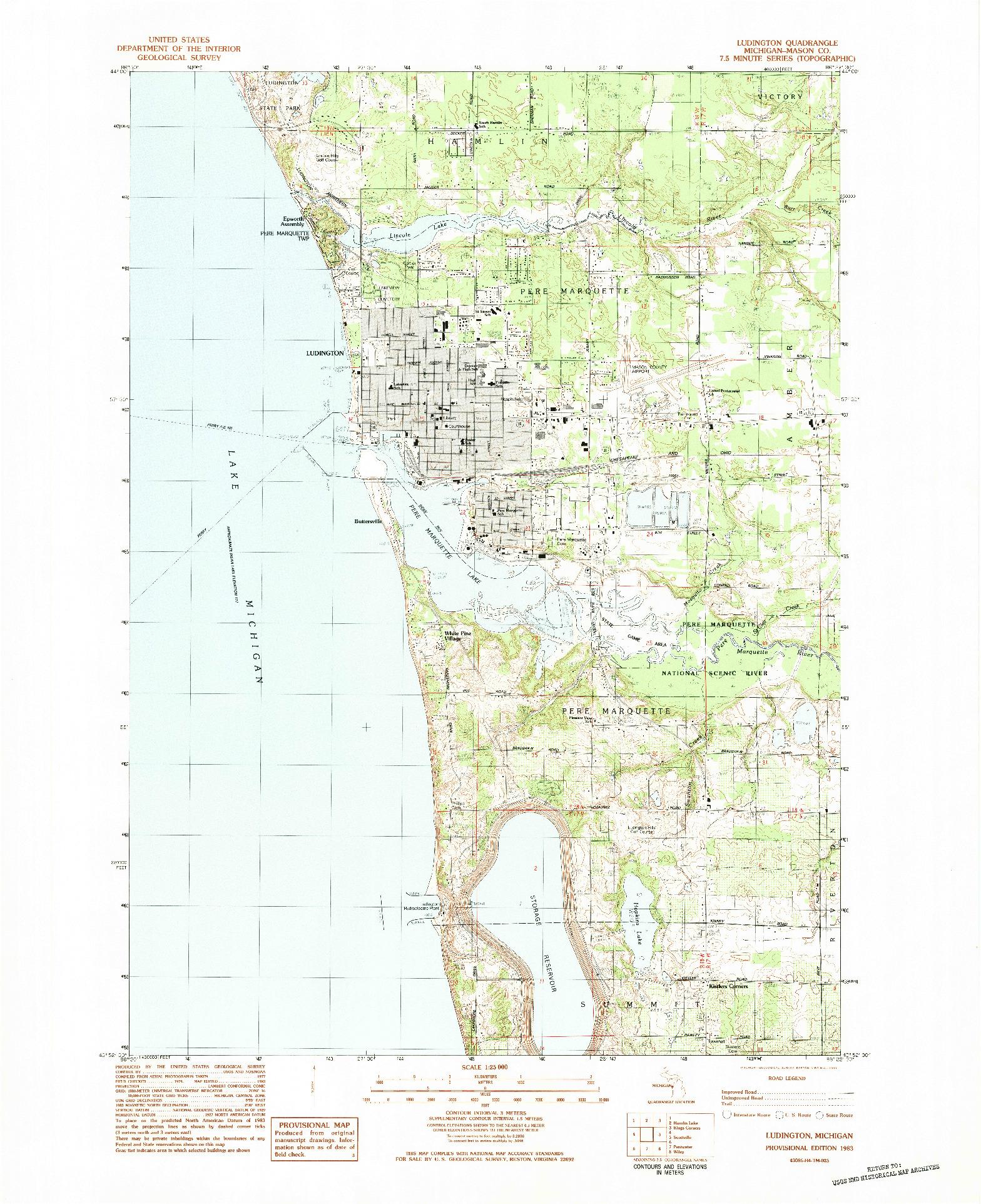 USGS 1:25000-SCALE QUADRANGLE FOR LUDINGTON, MI 1983