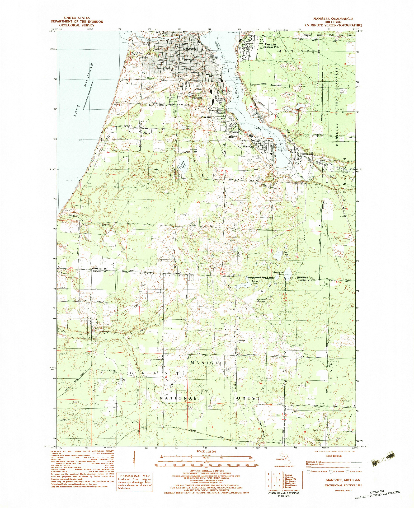 USGS 1:25000-SCALE QUADRANGLE FOR MANISTEE, MI 1982