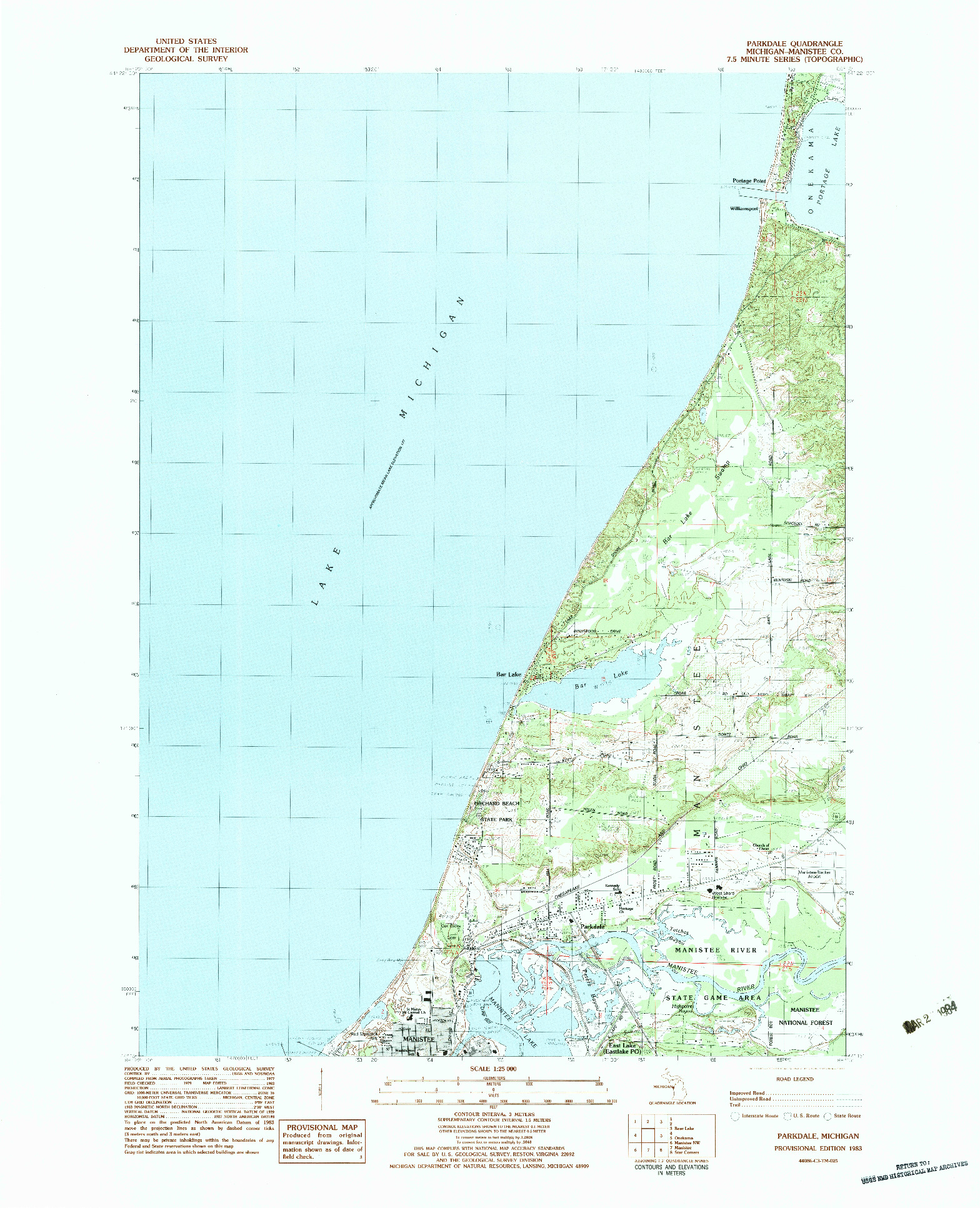 USGS 1:25000-SCALE QUADRANGLE FOR PARKDALE, MI 1983