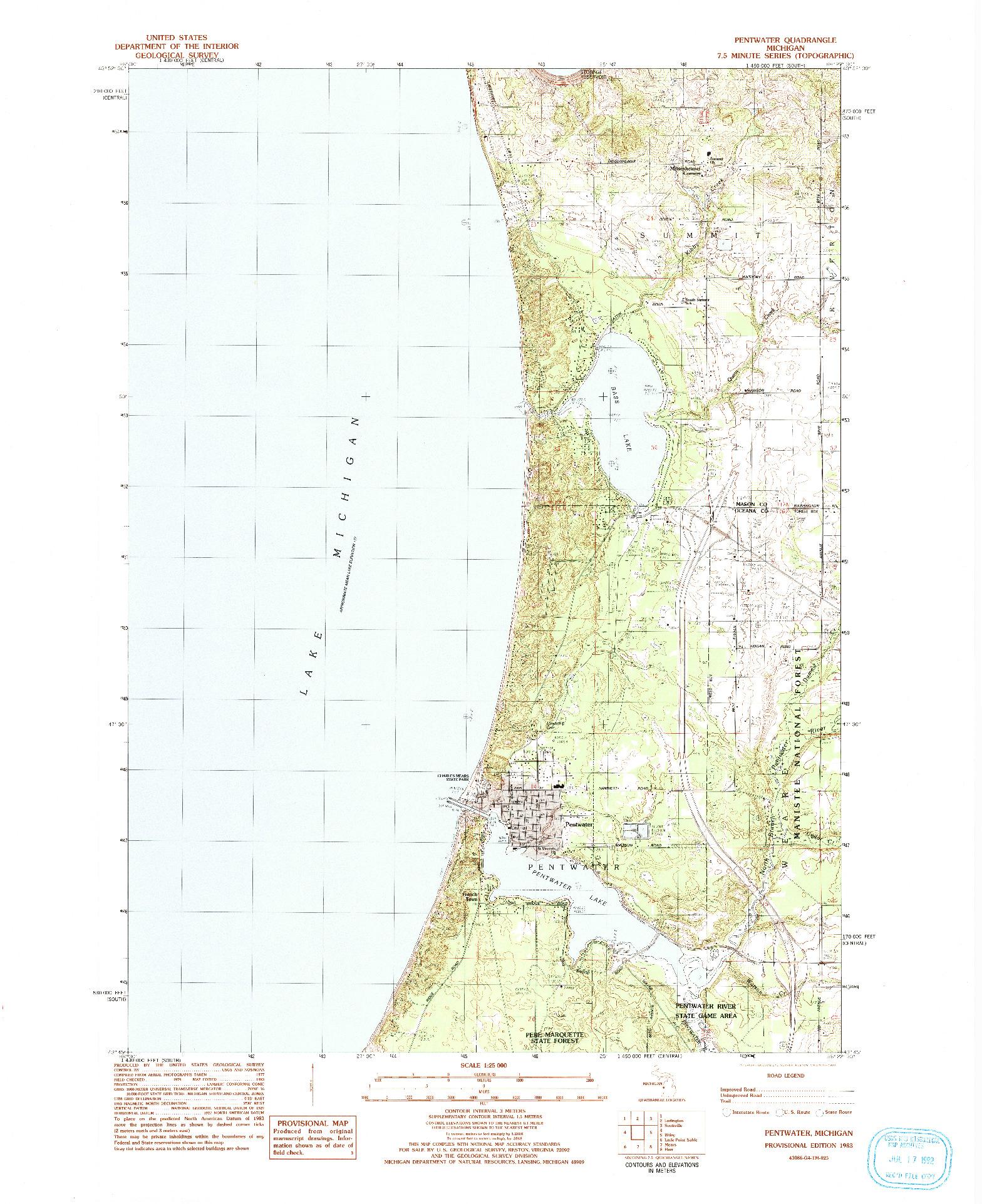 USGS 1:25000-SCALE QUADRANGLE FOR PENTWATER, MI 1983