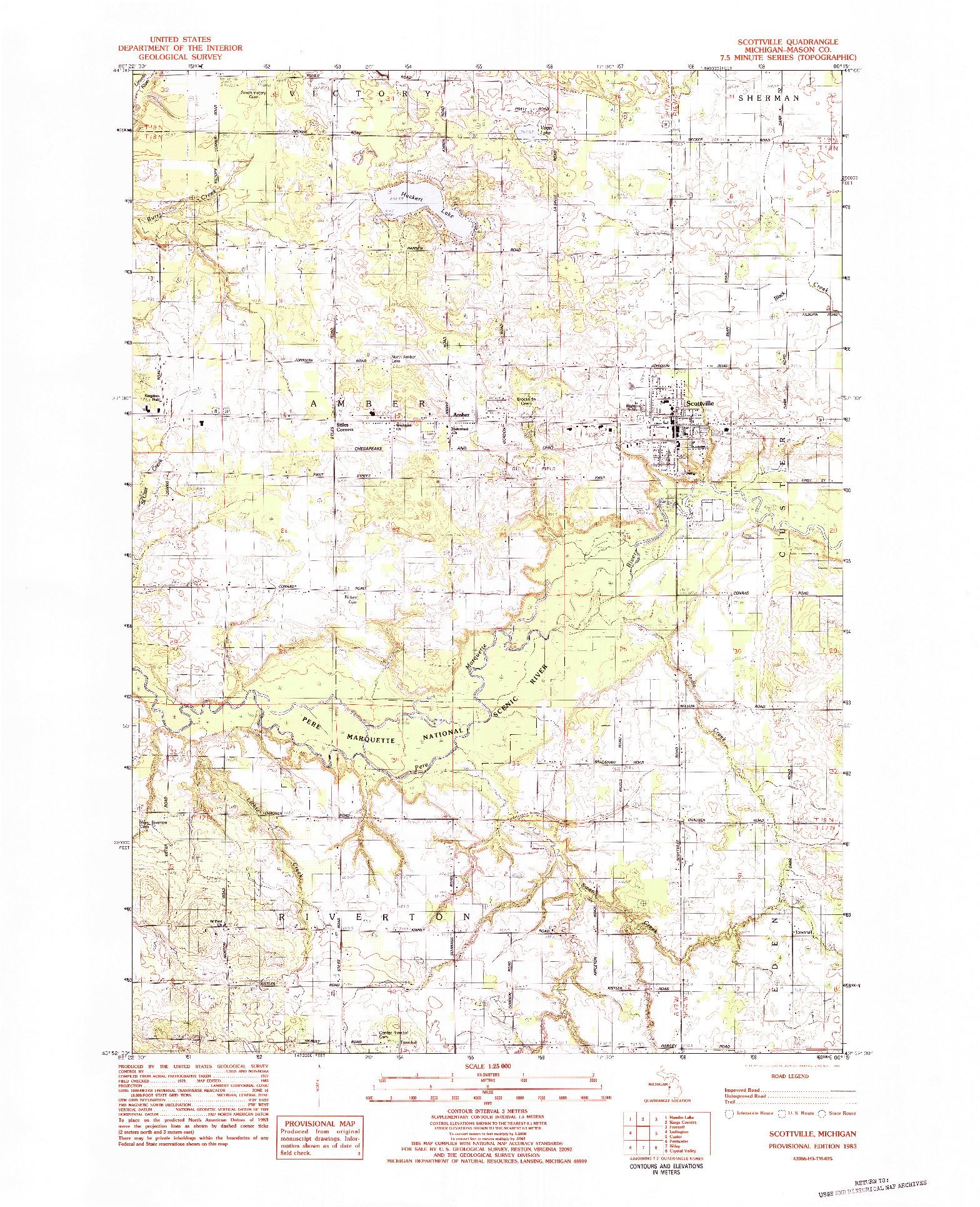 USGS 1:25000-SCALE QUADRANGLE FOR SCOTTVILLE, MI 1983