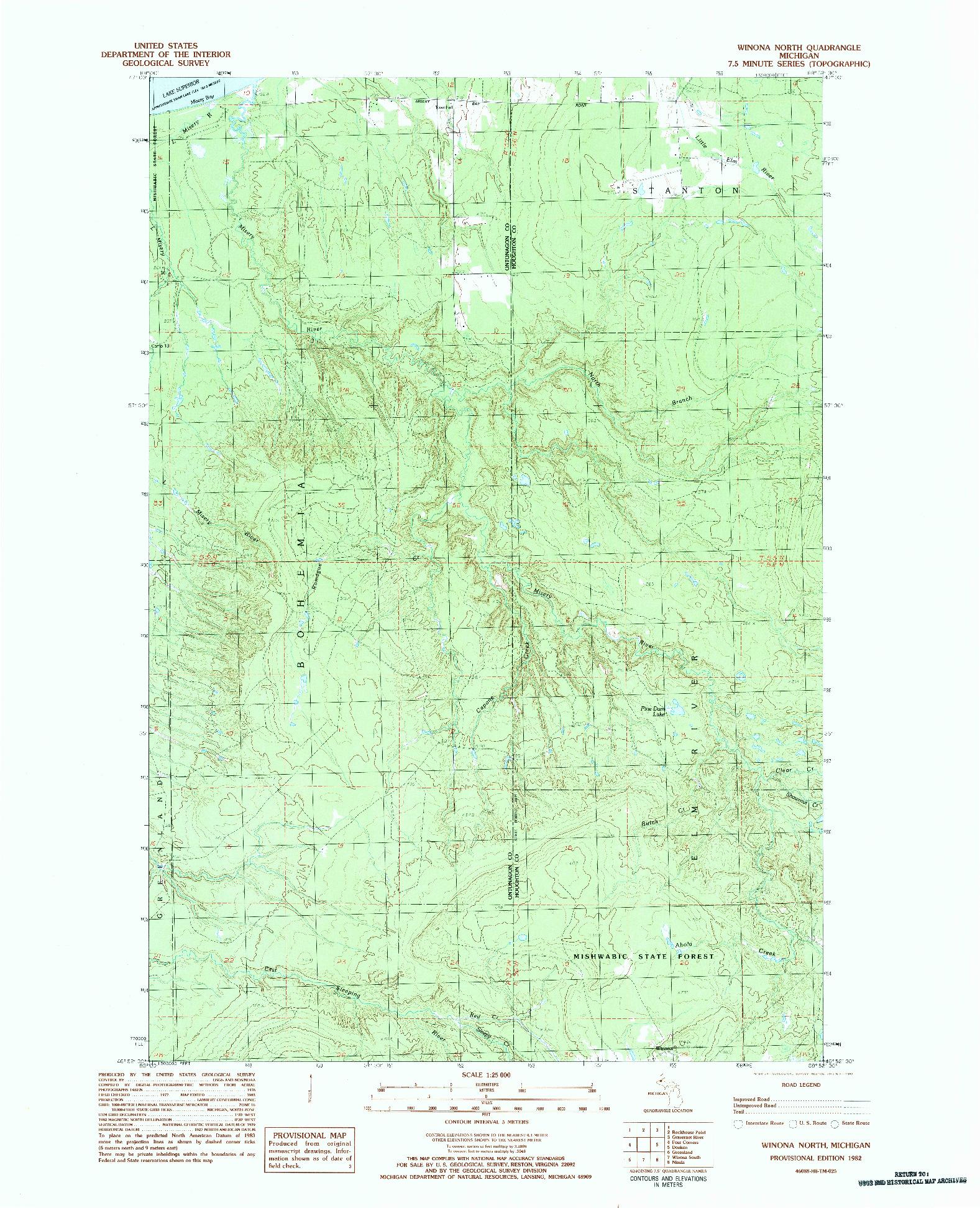 USGS 1:25000-SCALE QUADRANGLE FOR WINONA NORTH, MI 1982