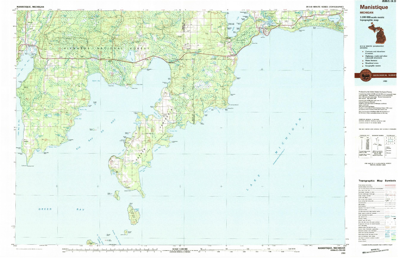 USGS 1:100000-SCALE QUADRANGLE FOR MANISTIQUE, MI 1983