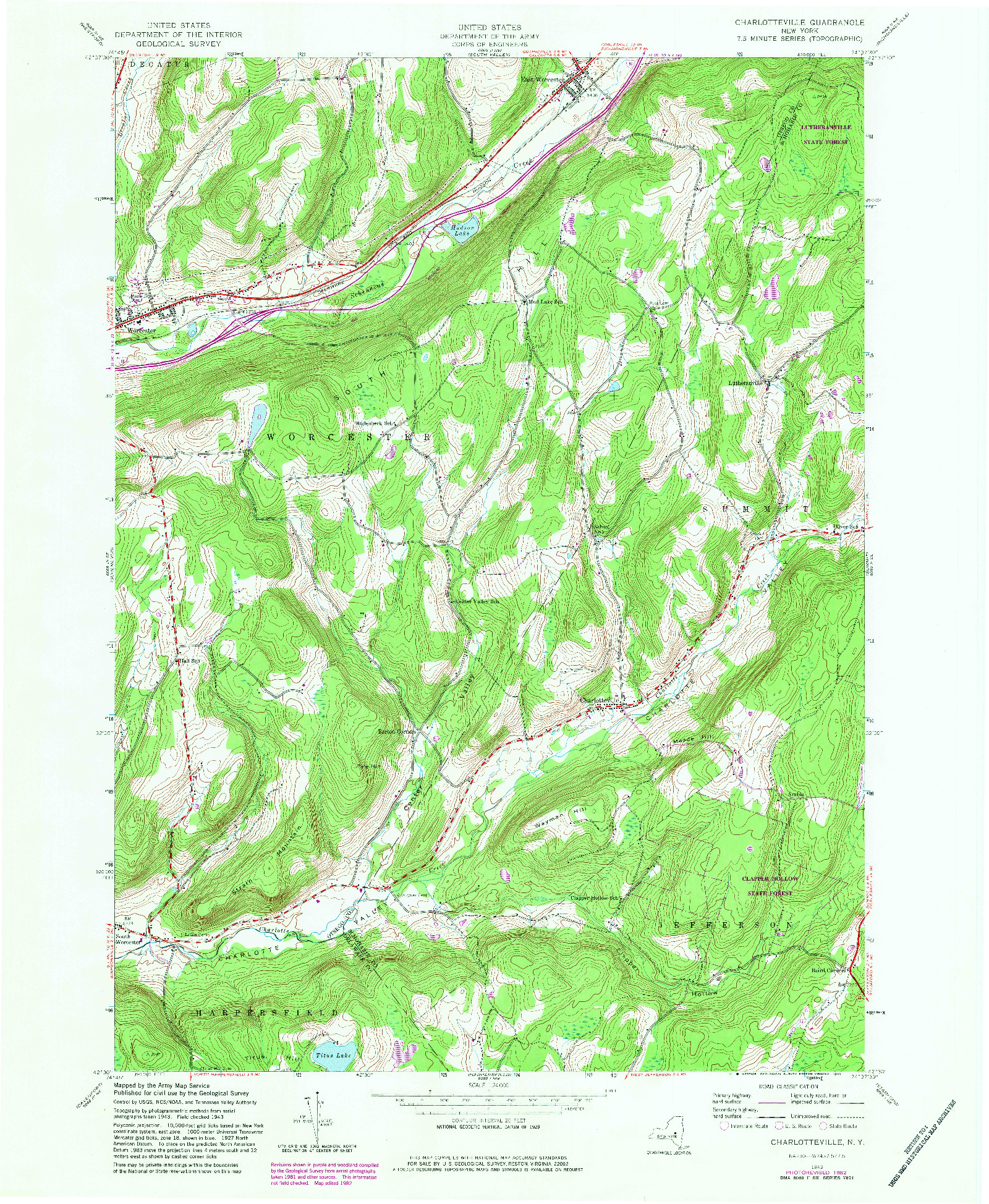 USGS 1:24000-SCALE QUADRANGLE FOR CHARLOTTEVILLE, NY 1943