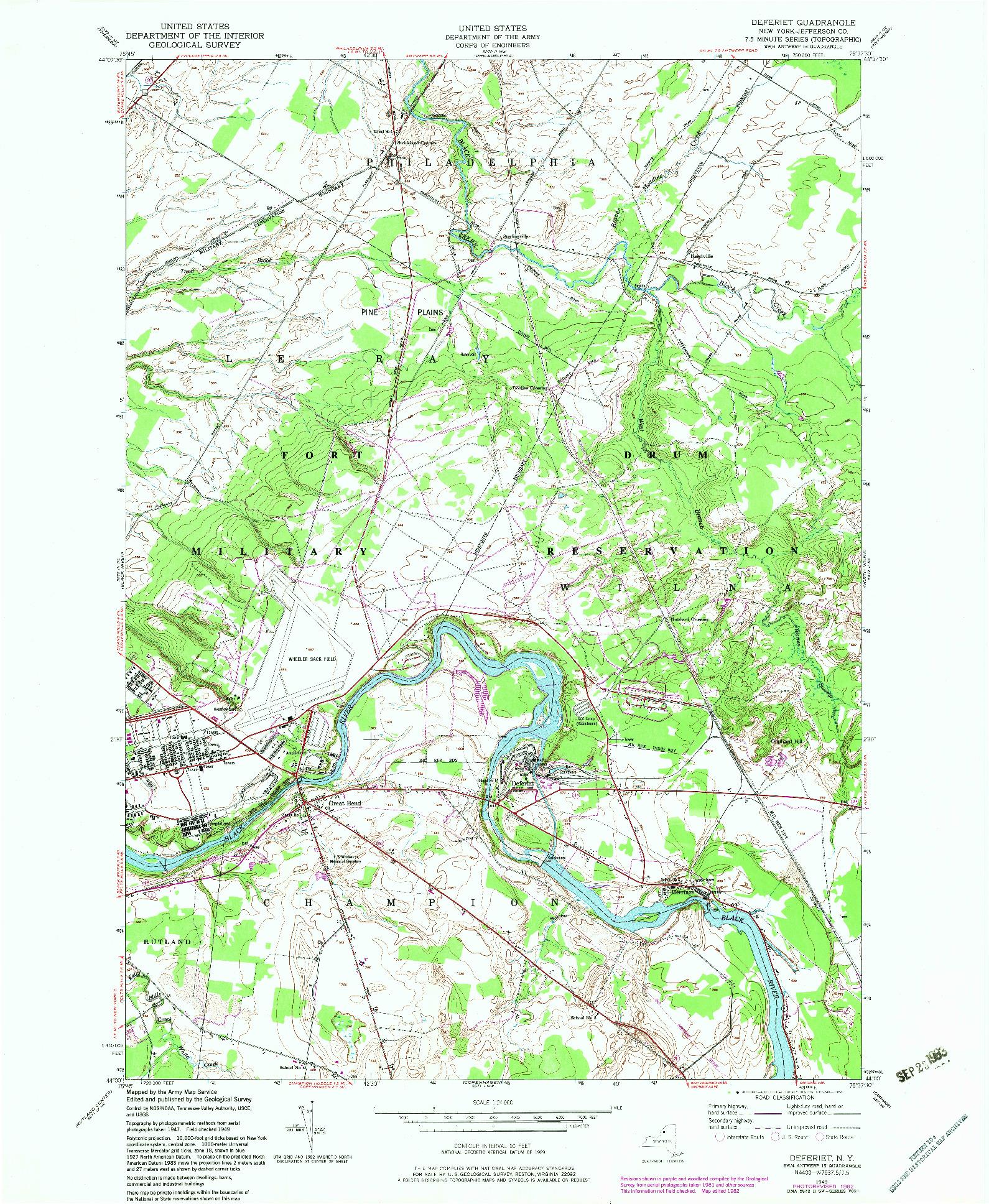 USGS 1:24000-SCALE QUADRANGLE FOR DEFERIET, NY 1949