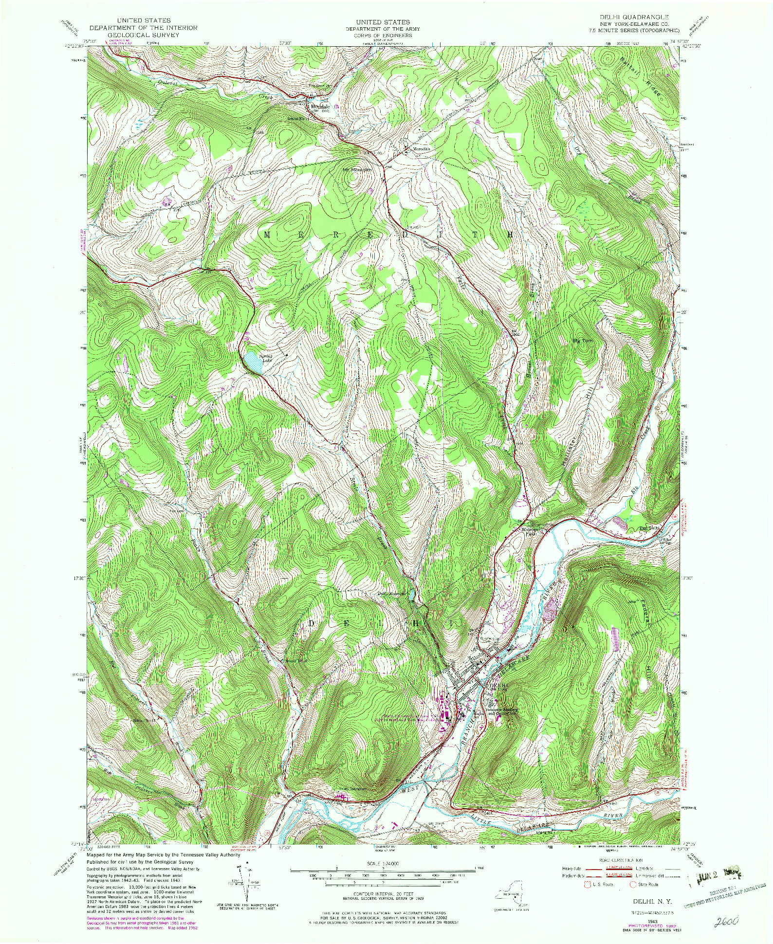 USGS 1:24000-SCALE QUADRANGLE FOR DELHI, NY 1943