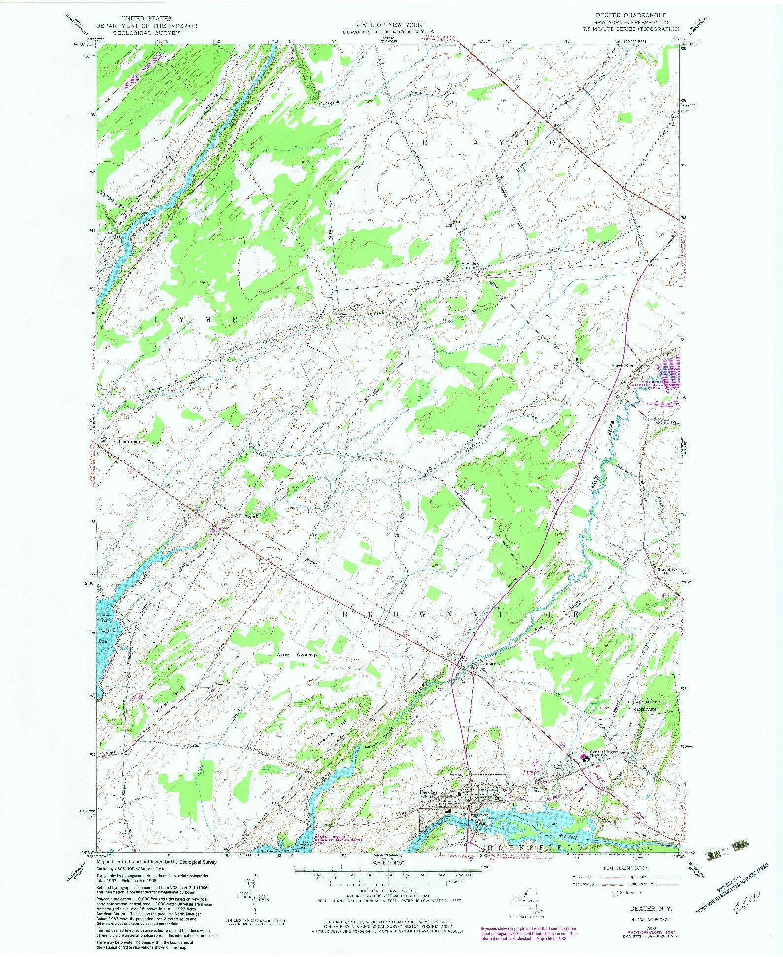 USGS 1:24000-SCALE QUADRANGLE FOR DEXTER, NY 1958