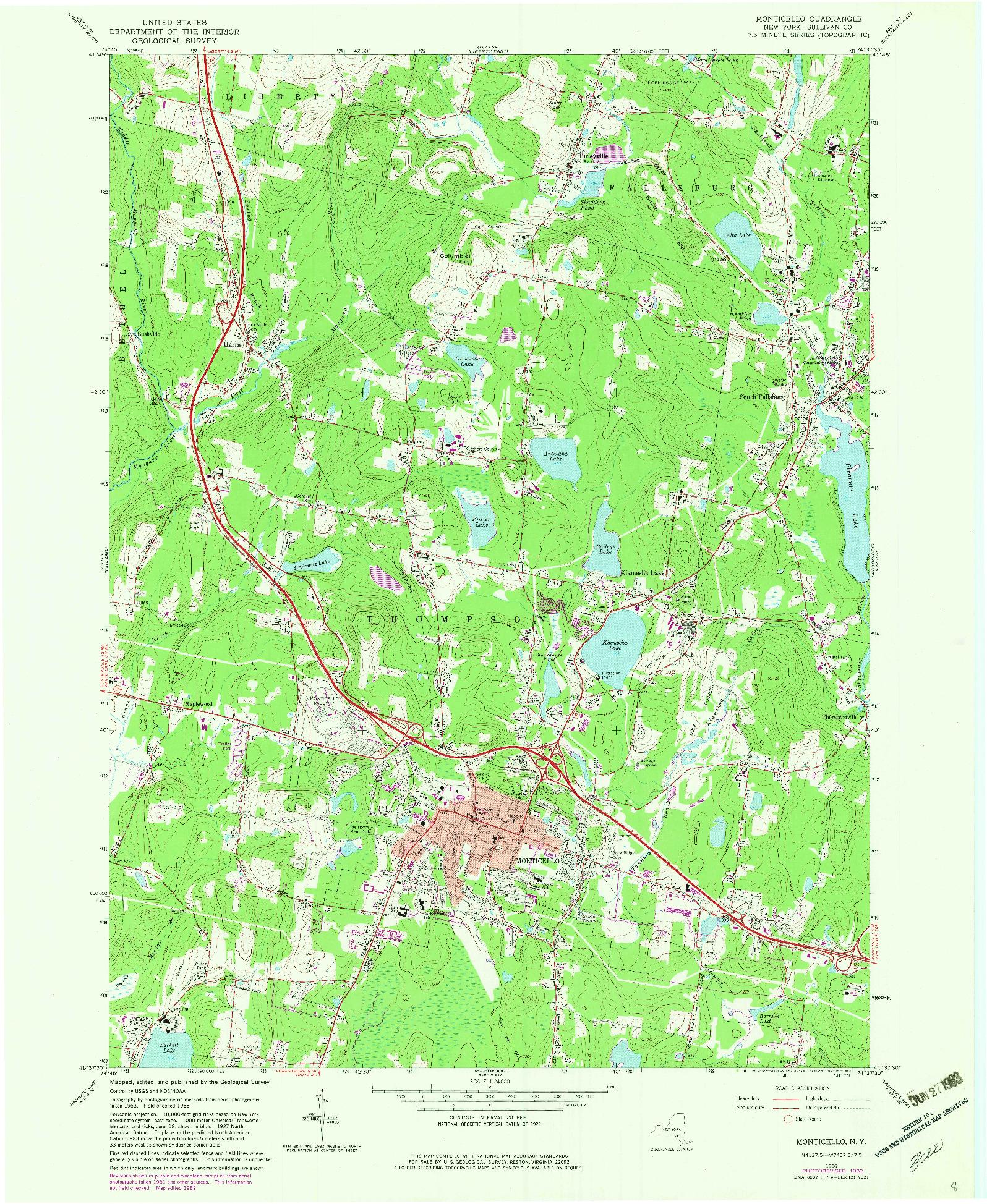 USGS 1:24000-SCALE QUADRANGLE FOR MONTICELLO, NY 1966