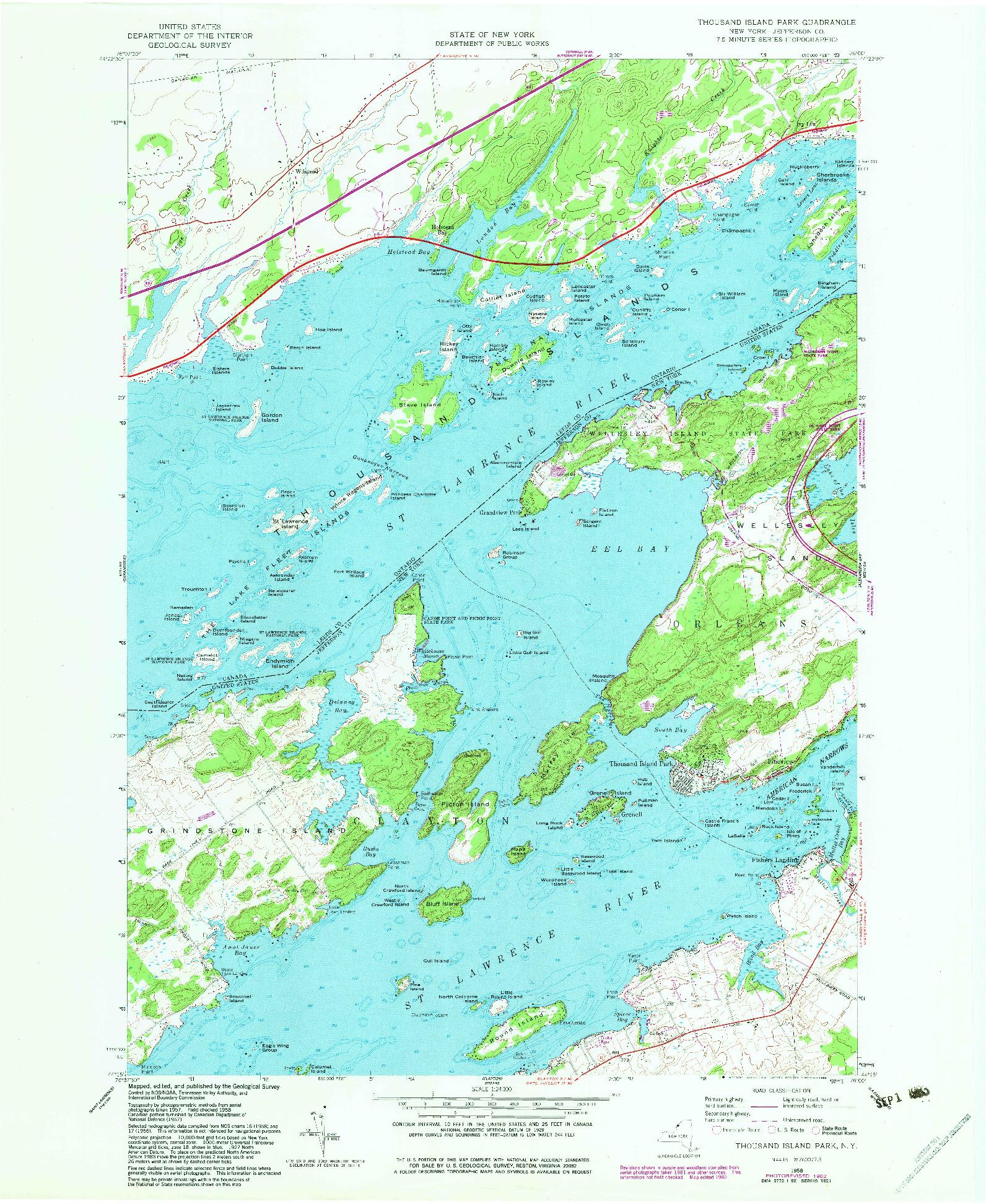 USGS 1:24000-SCALE QUADRANGLE FOR THOUSAND ISLAND PARK, NY 1958