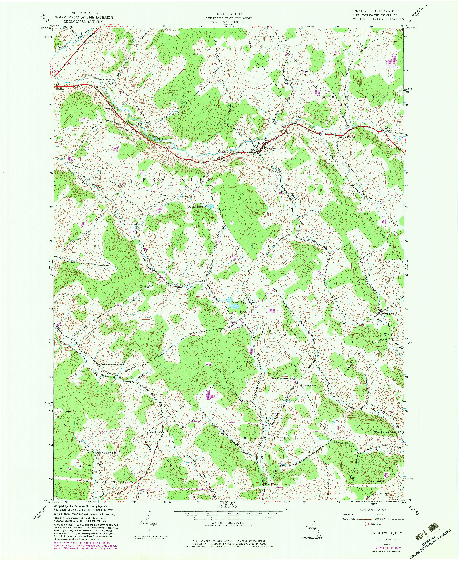 USGS 1:24000-SCALE QUADRANGLE FOR TREADWELL, NY 1943