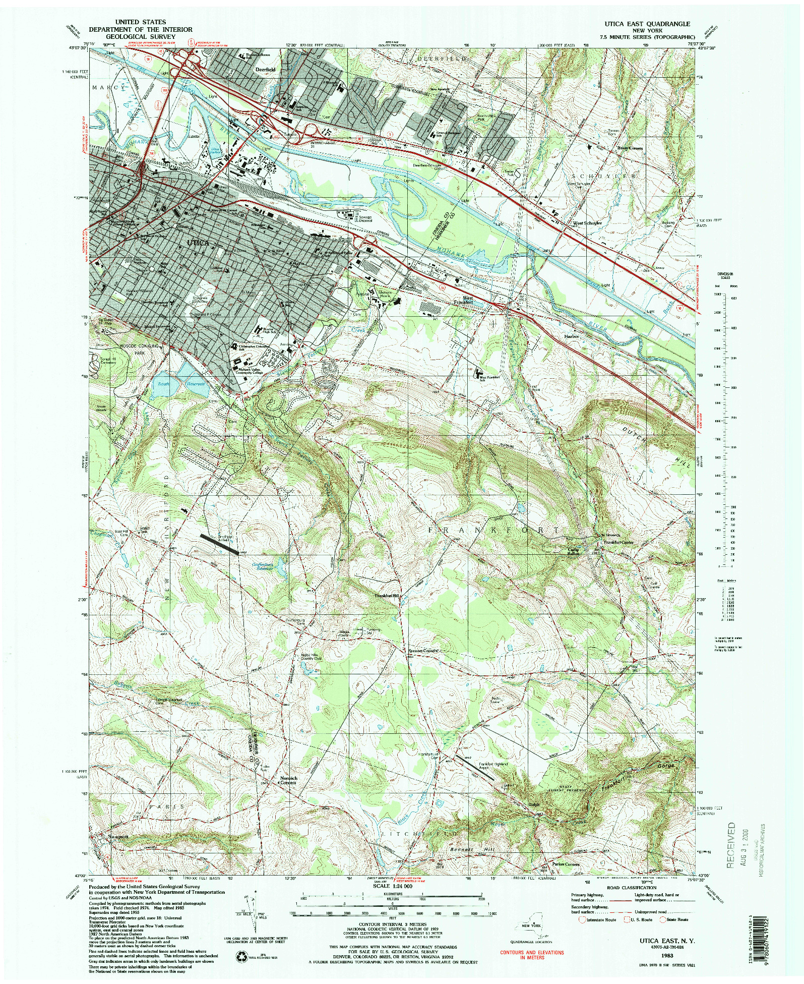 USGS 1:24000-SCALE QUADRANGLE FOR UTICA EAST, NY 1983