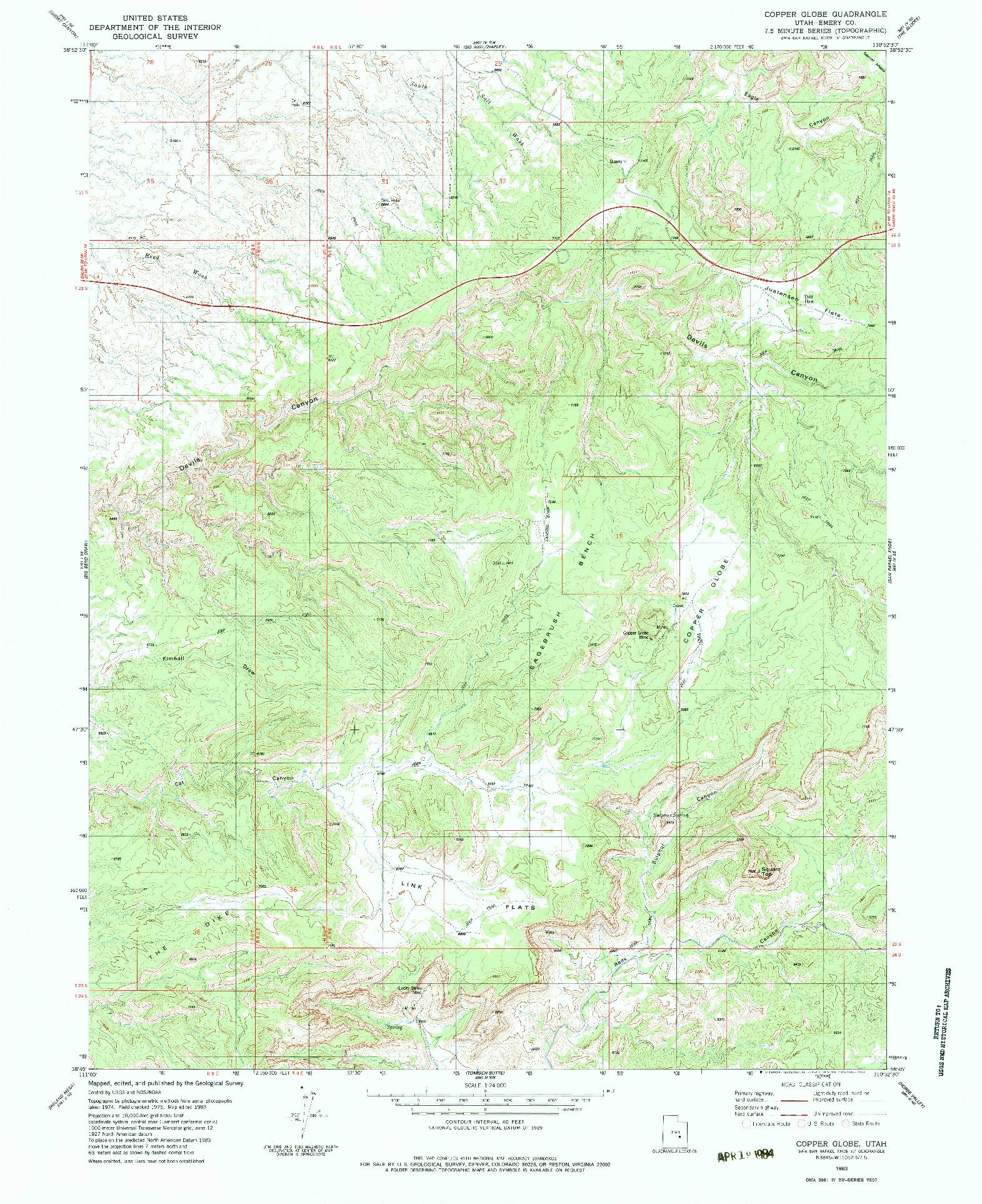 USGS 1:24000-SCALE QUADRANGLE FOR COPPER GLOBE, UT 1983