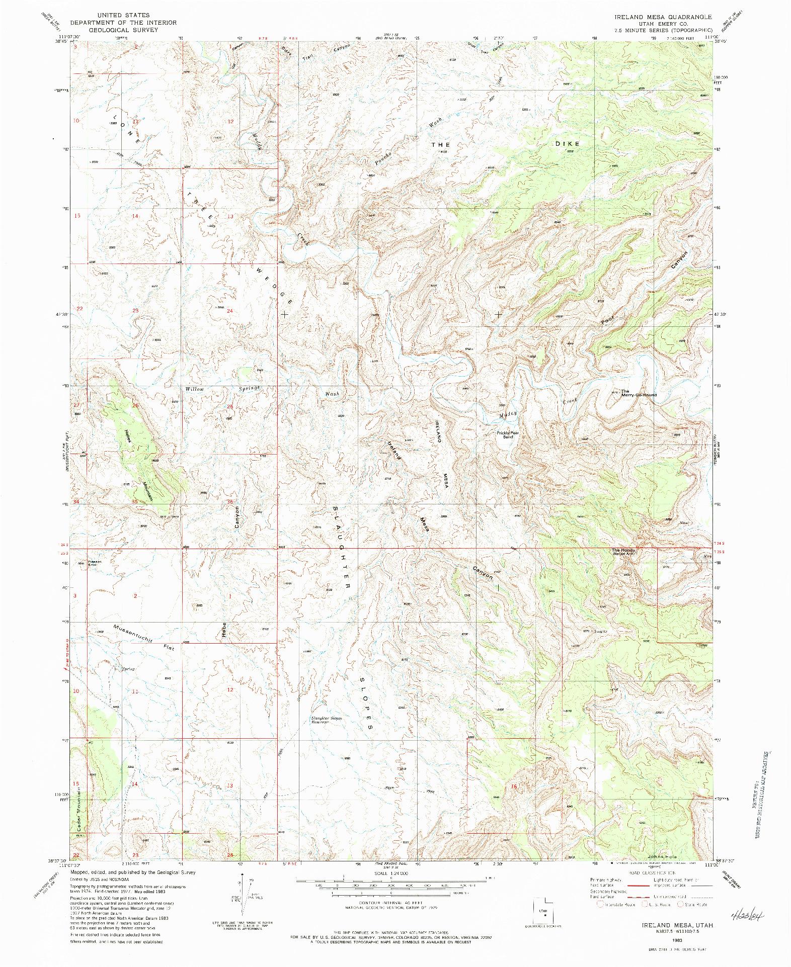 USGS 1:24000-SCALE QUADRANGLE FOR IRELAND MESA, UT 1983
