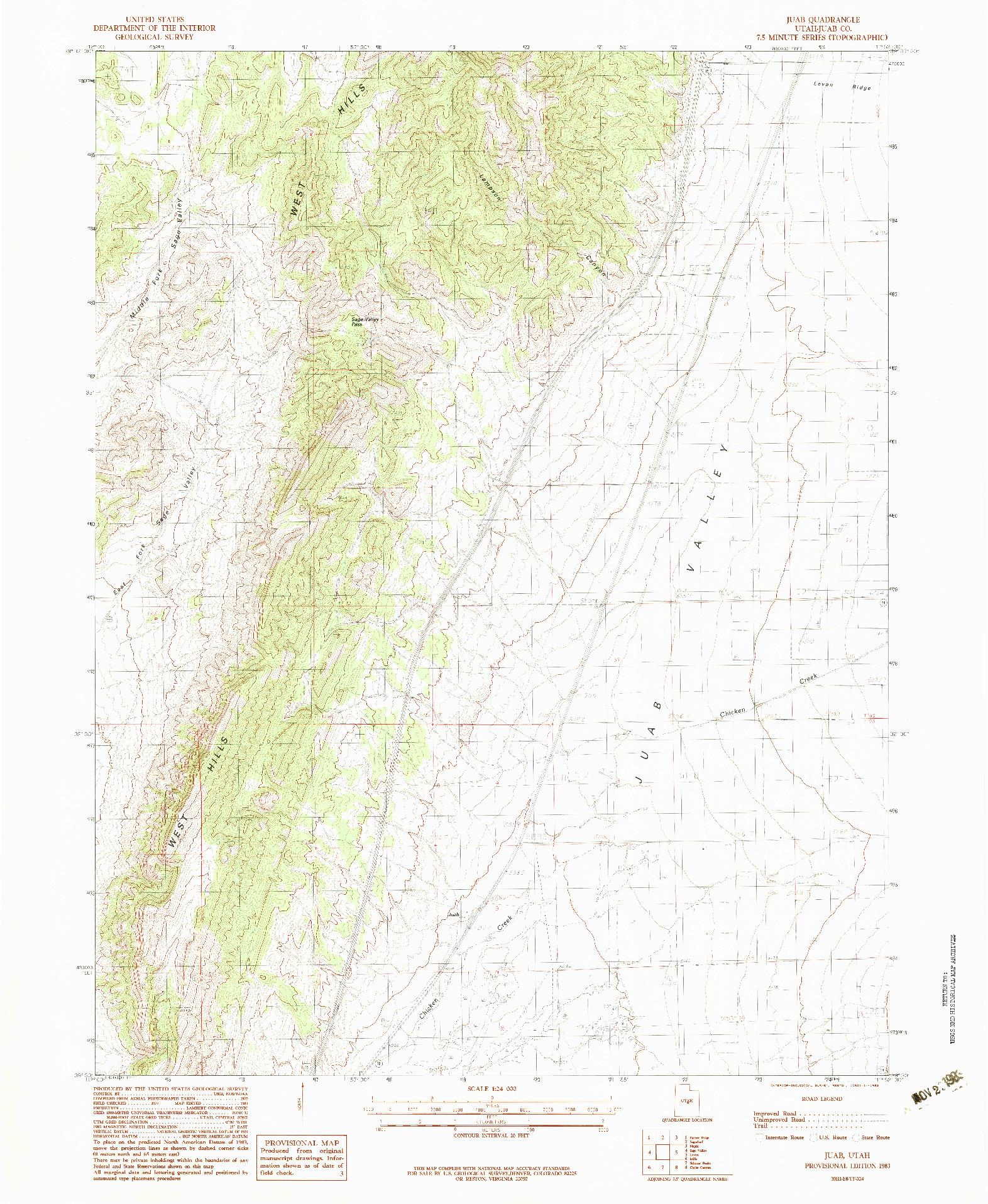 USGS 1:24000-SCALE QUADRANGLE FOR JUAB, UT 1983