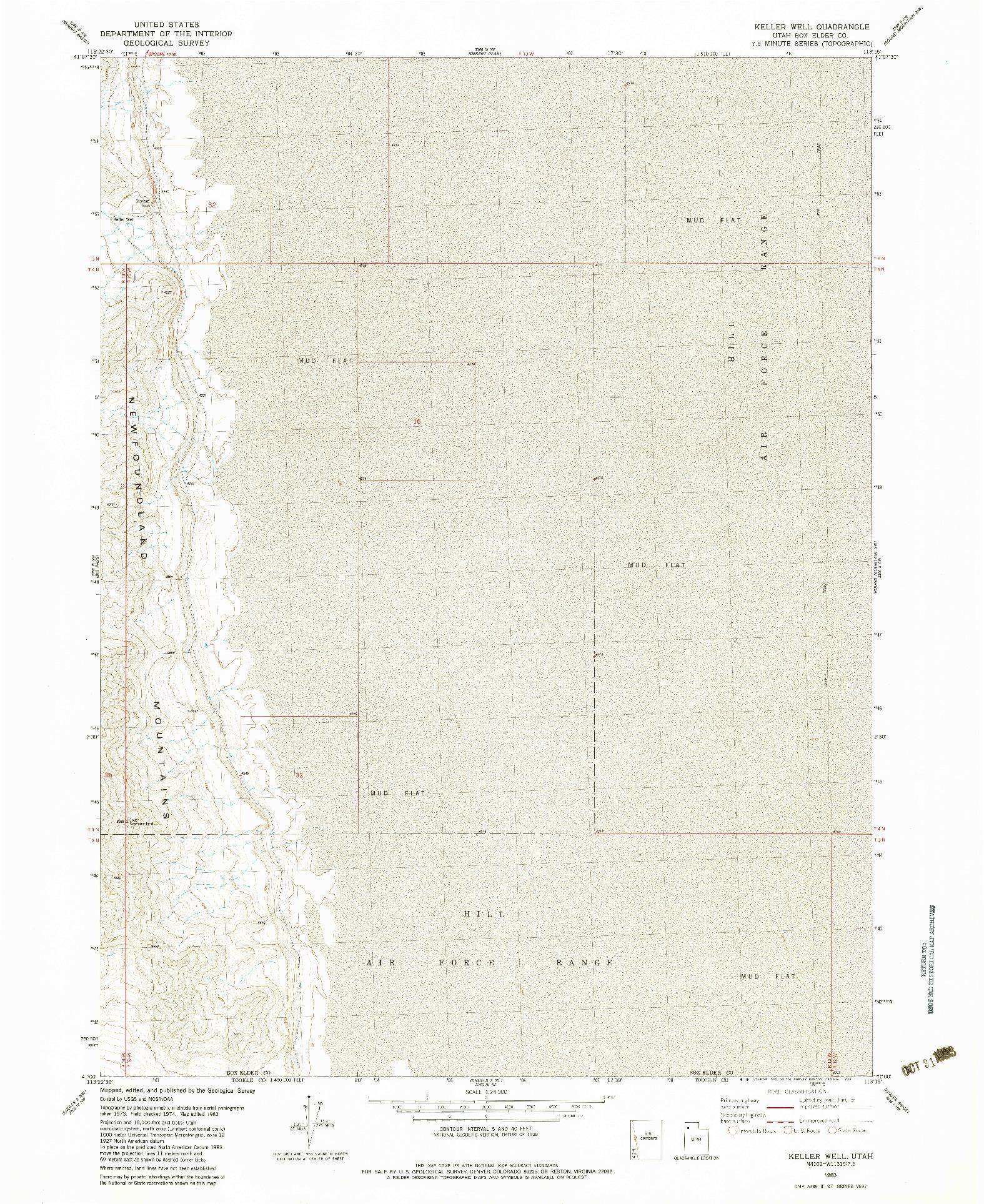 USGS 1:24000-SCALE QUADRANGLE FOR KELLER WELL, UT 1983