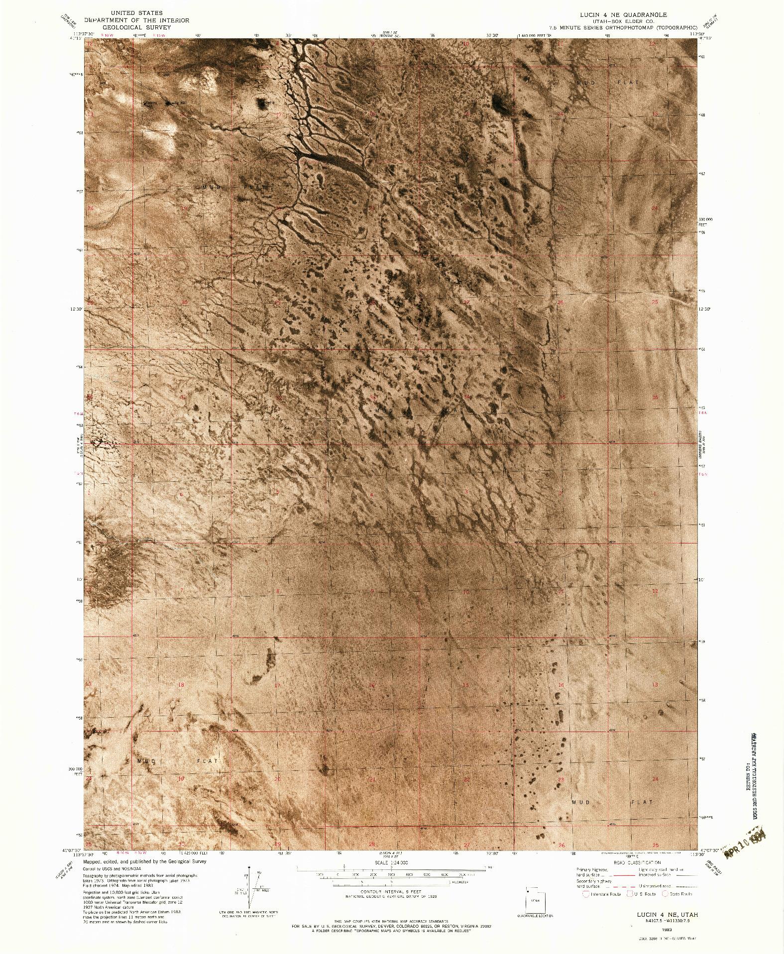 USGS 1:24000-SCALE QUADRANGLE FOR LUCIN 4 NE, UT 1983
