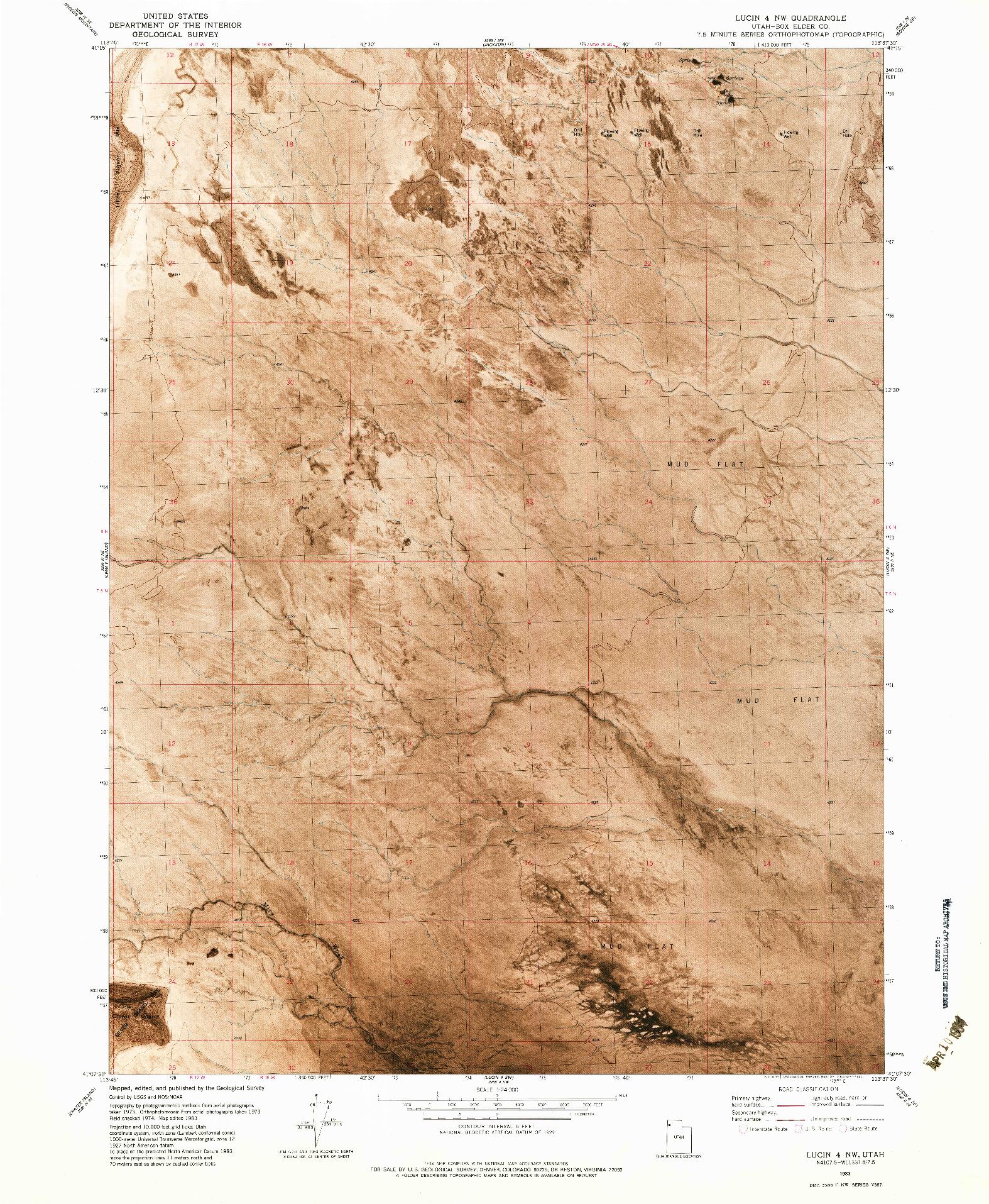 USGS 1:24000-SCALE QUADRANGLE FOR LUCIN 4 NW, UT 1983
