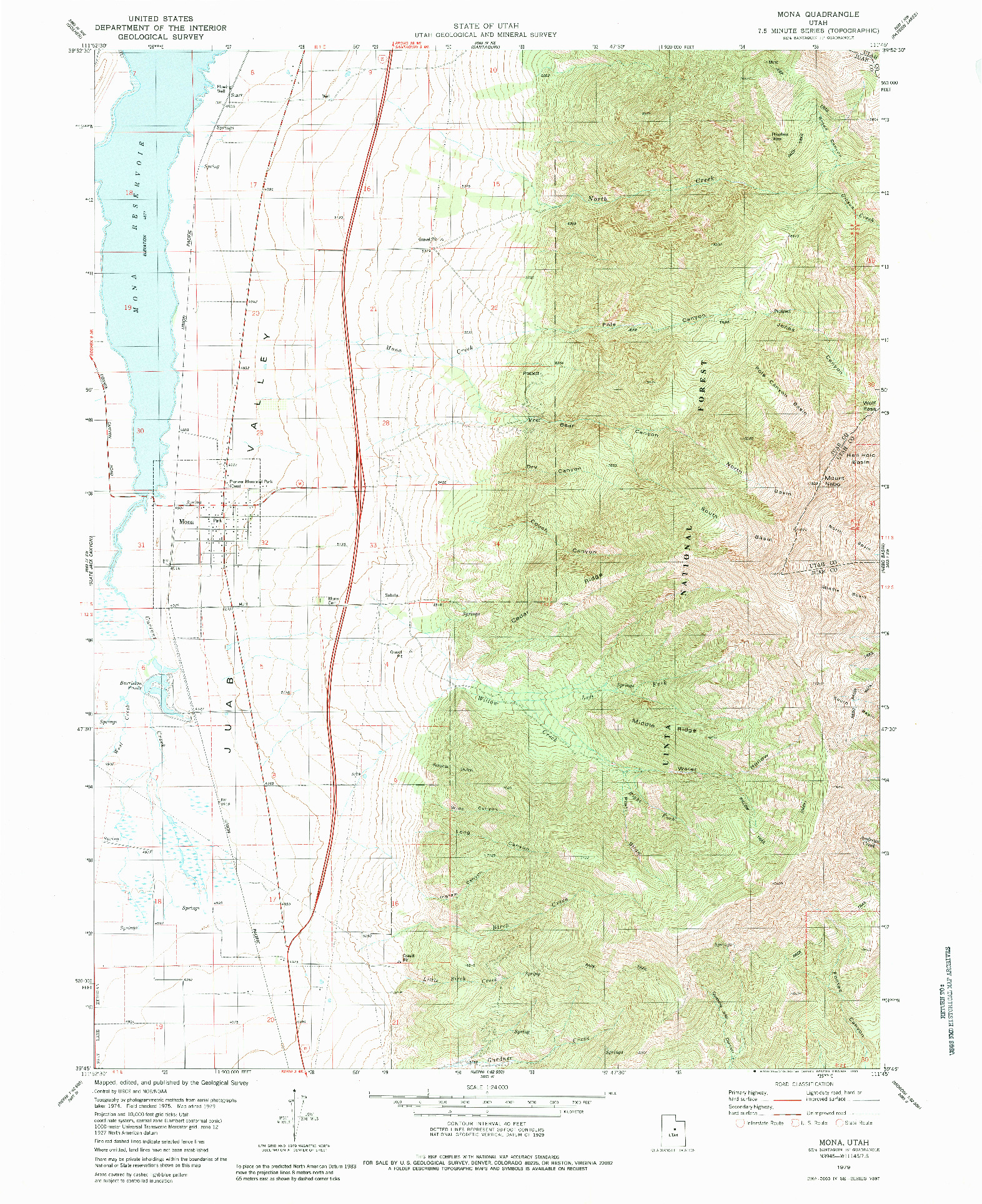 USGS 1:24000-SCALE QUADRANGLE FOR MONA, UT 1979