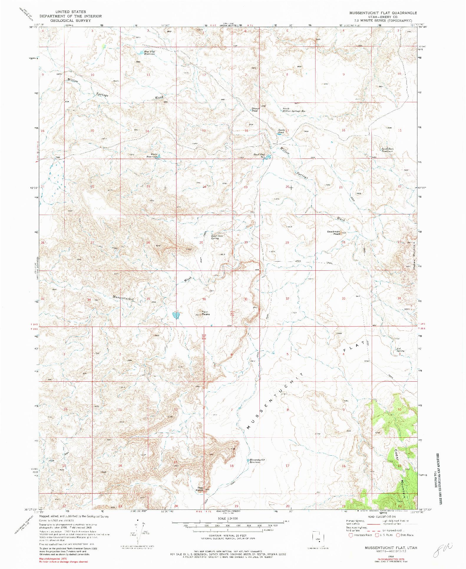 USGS 1:24000-SCALE QUADRANGLE FOR MUSSENTUCHIT FLAT, UT 1968