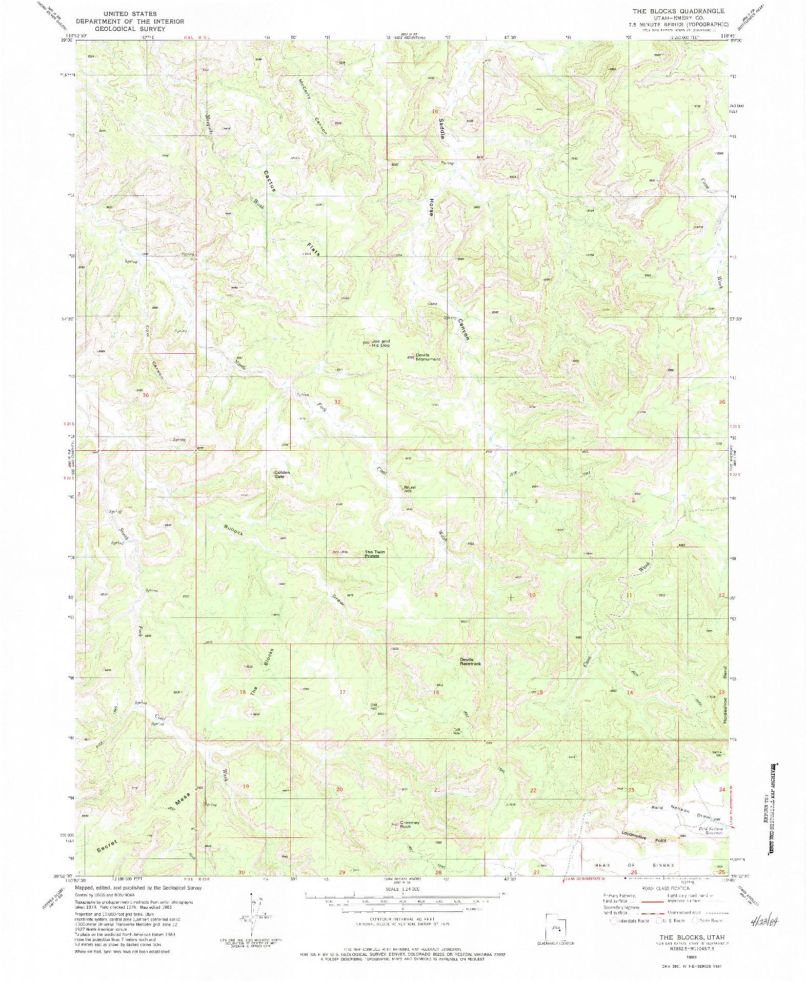 USGS 1:24000-SCALE QUADRANGLE FOR THE BLOCKS, UT 1983