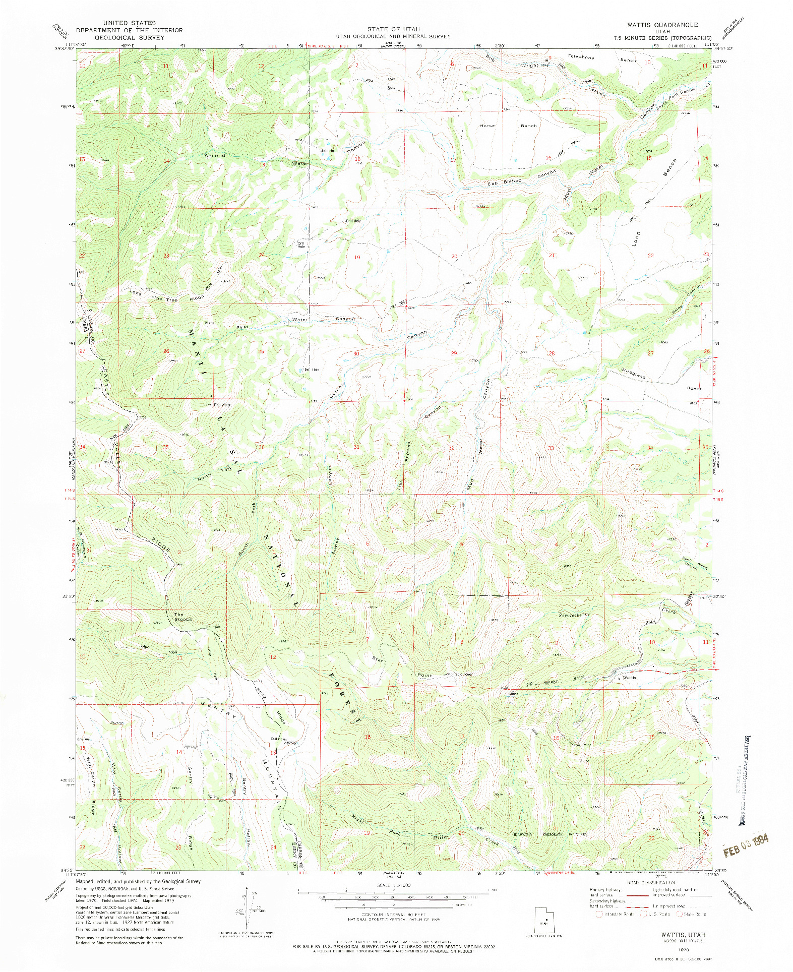 USGS 1:24000-SCALE QUADRANGLE FOR WATTIS, UT 1979