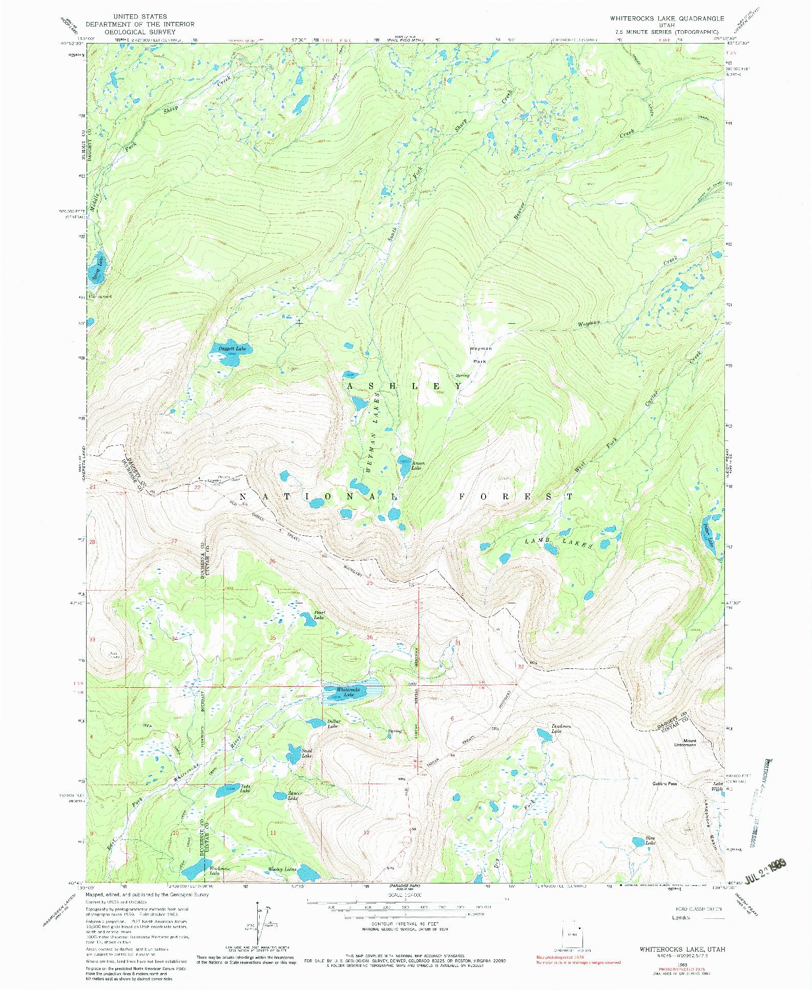 USGS 1:24000-SCALE QUADRANGLE FOR WHITEROCKS LAKE, UT 1963