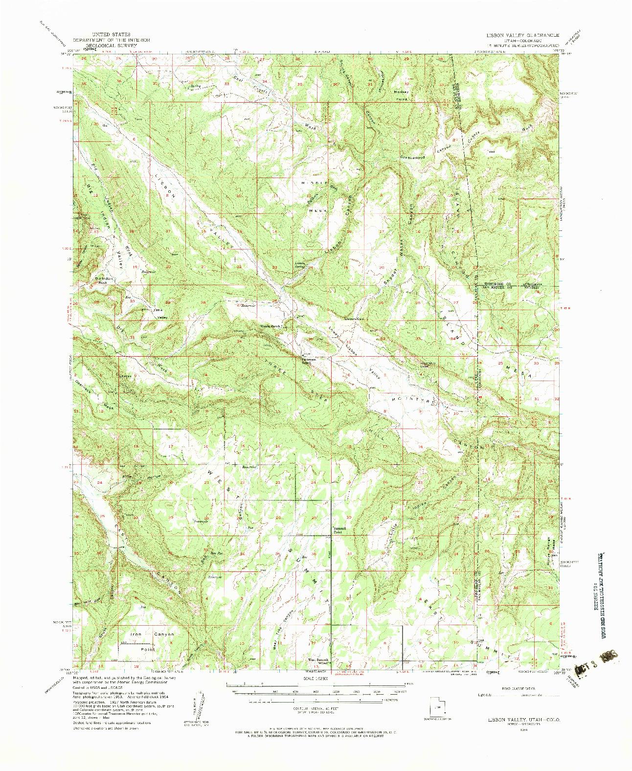 USGS 1:62500-SCALE QUADRANGLE FOR LISBON VALLEY, UT 1954