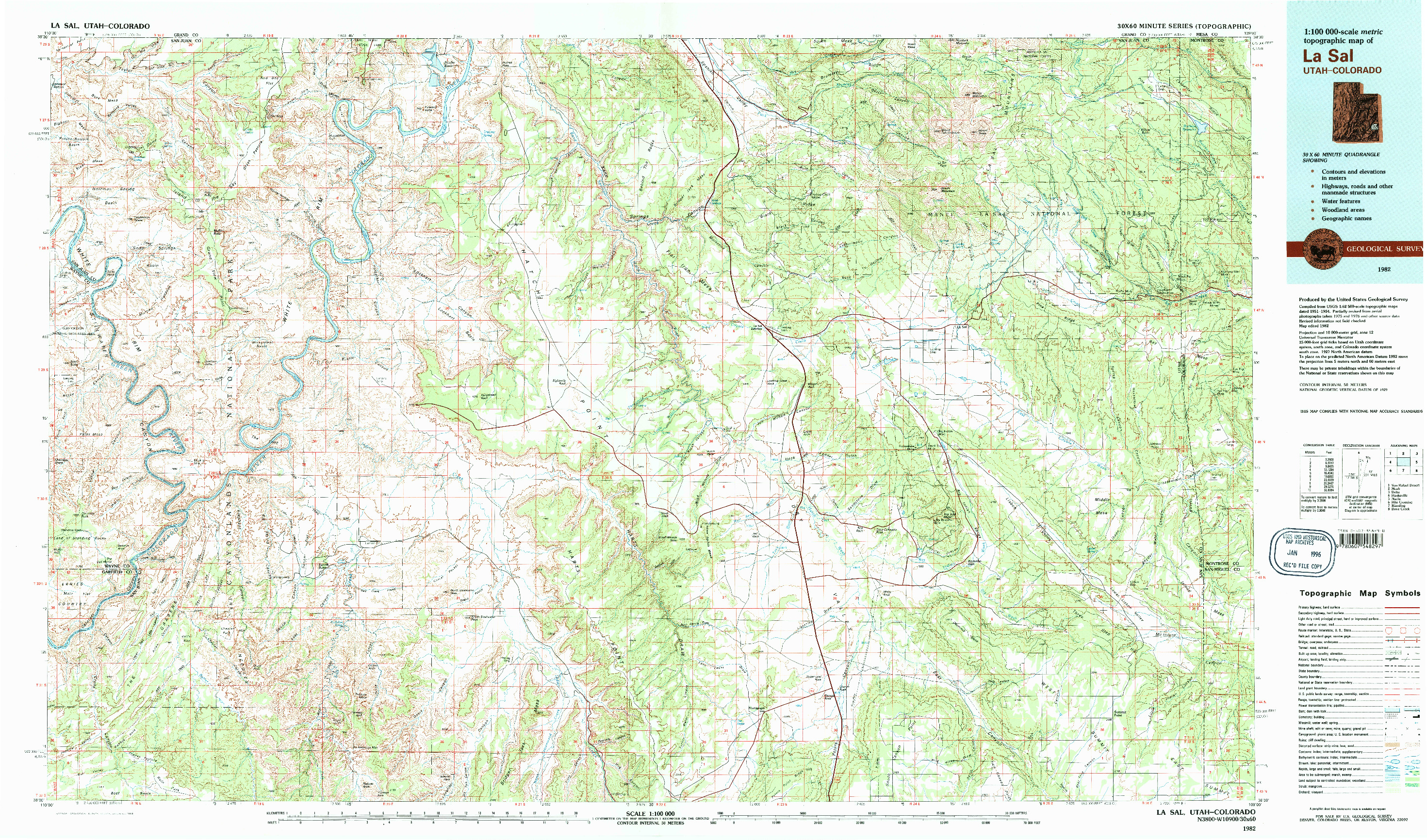 USGS 1:100000-SCALE QUADRANGLE FOR LA SAL, UT 1982