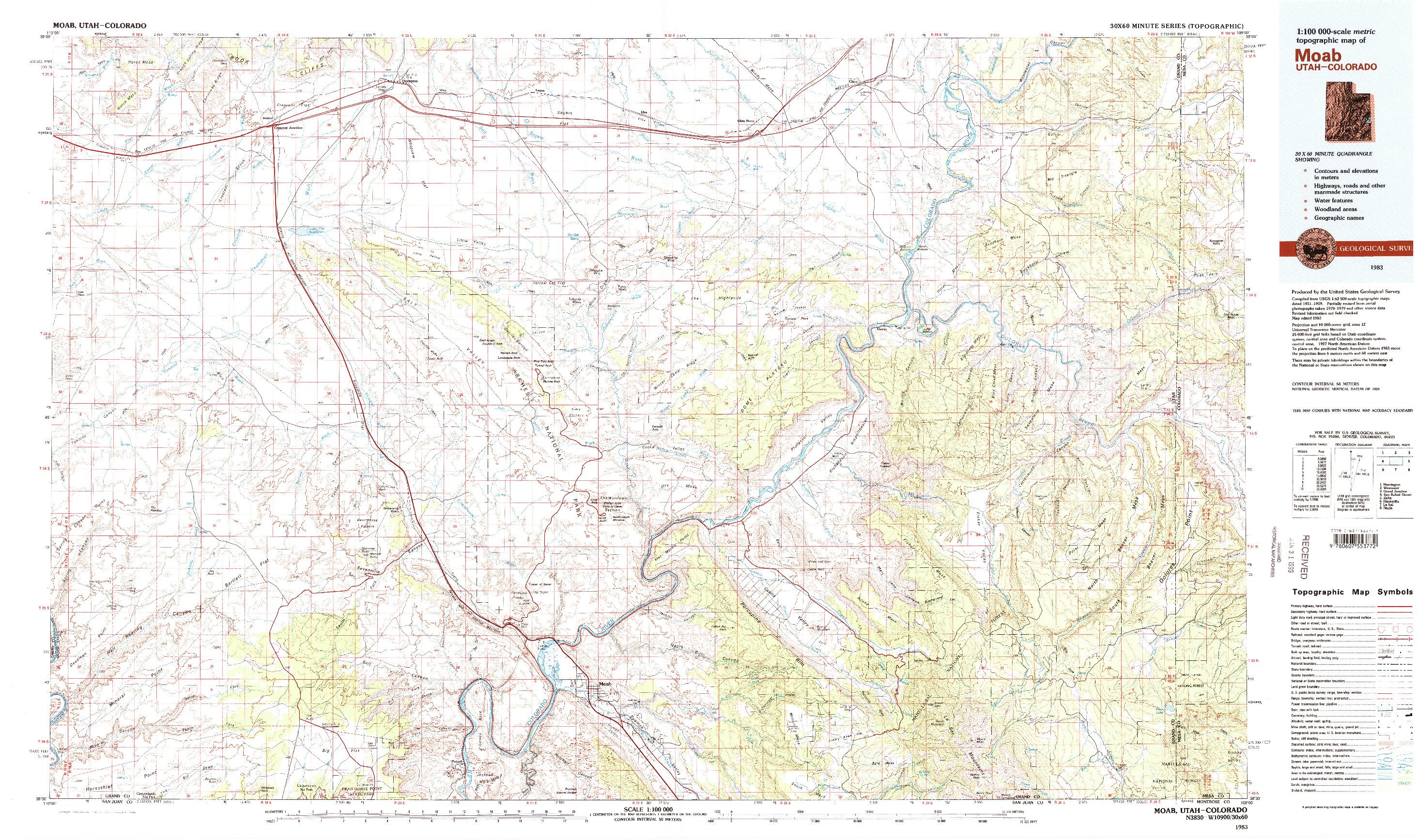 USGS 1:100000-SCALE QUADRANGLE FOR MOAB, UT 1983