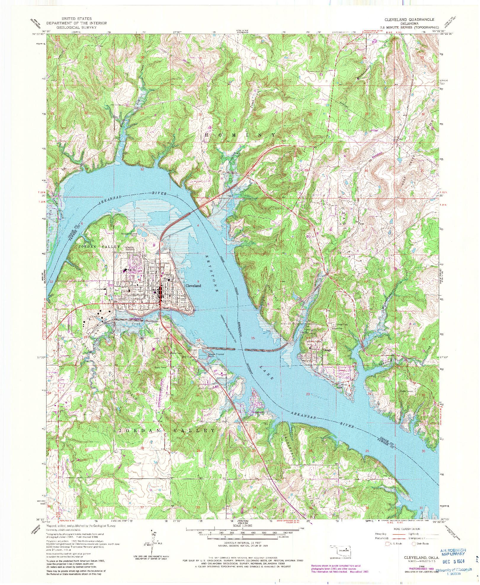 USGS 1:24000-SCALE QUADRANGLE FOR CLEVELAND, OK 1966