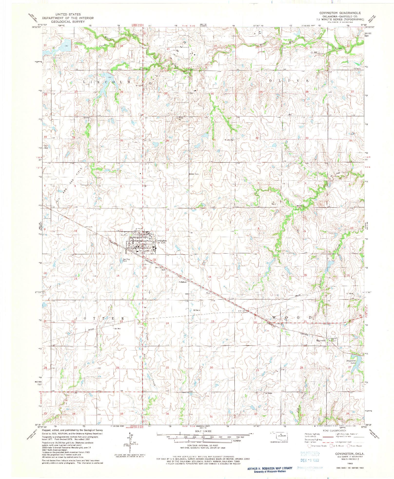 USGS 1:24000-SCALE QUADRANGLE FOR COVINGTON, OK 1982