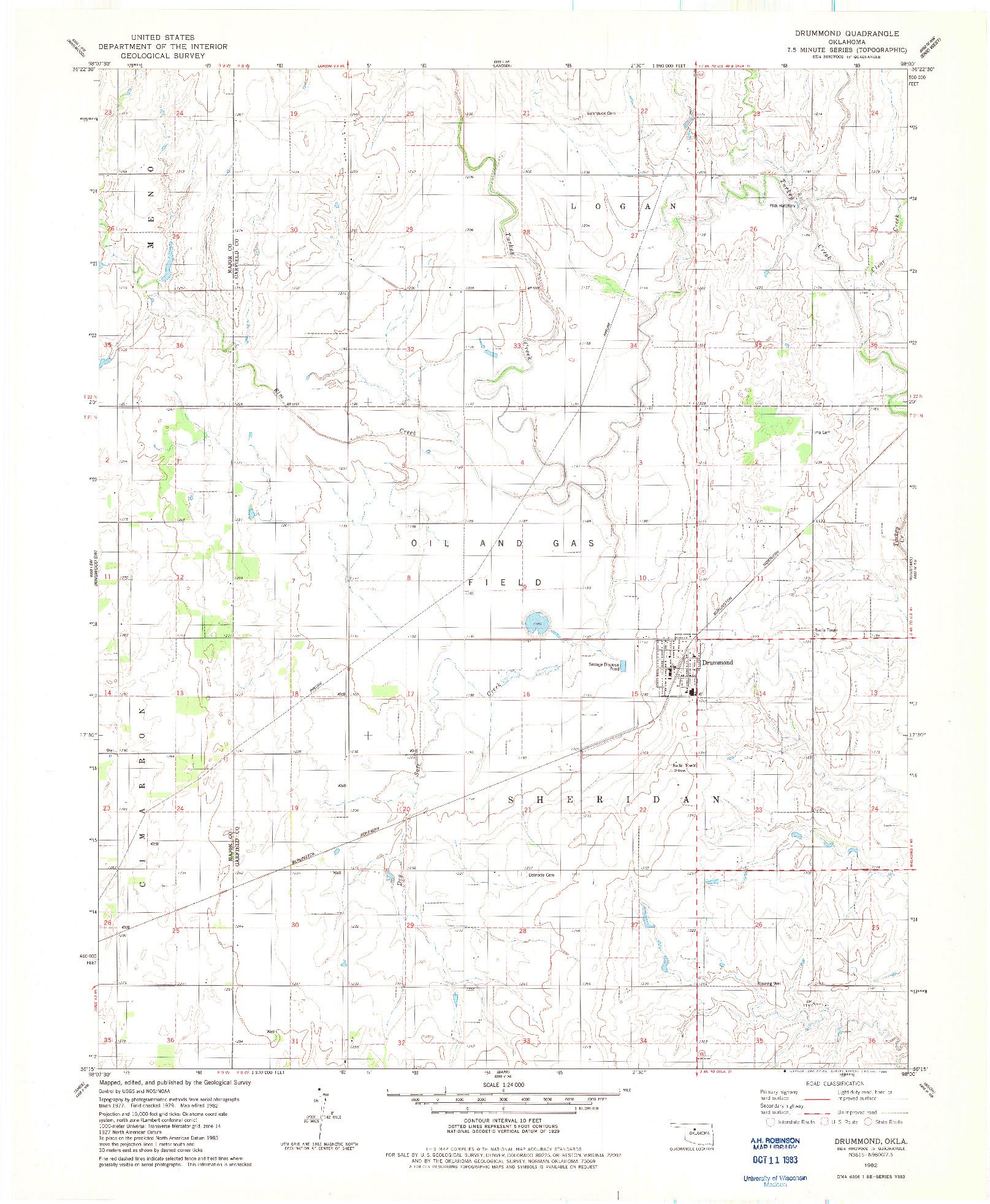 USGS 1:24000-SCALE QUADRANGLE FOR DRUMMOND, OK 1982
